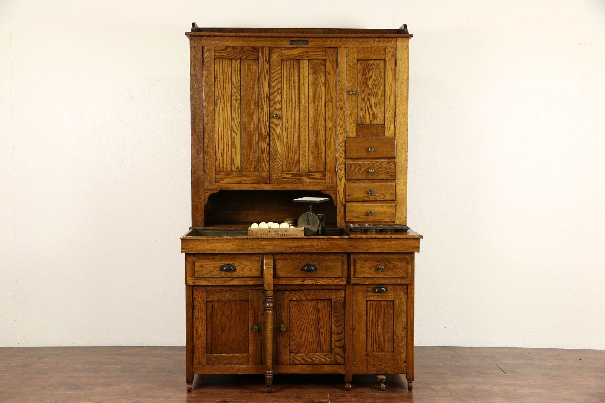 Mcdougall Signed Combination Oak 1900 Antique Dry Sink Pantry Cupboard