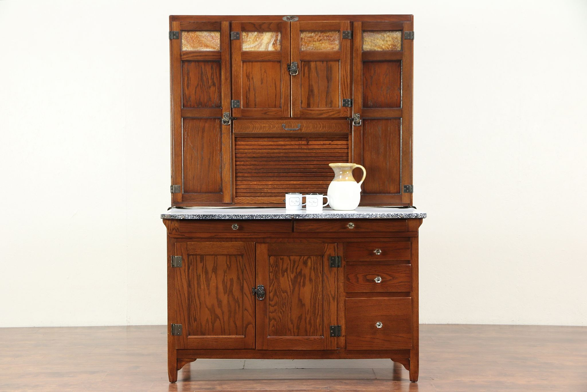 Oak Antique Hoosier Pantry Cupboard, Stained Glass, Roll Top, Sellers IN  #29461