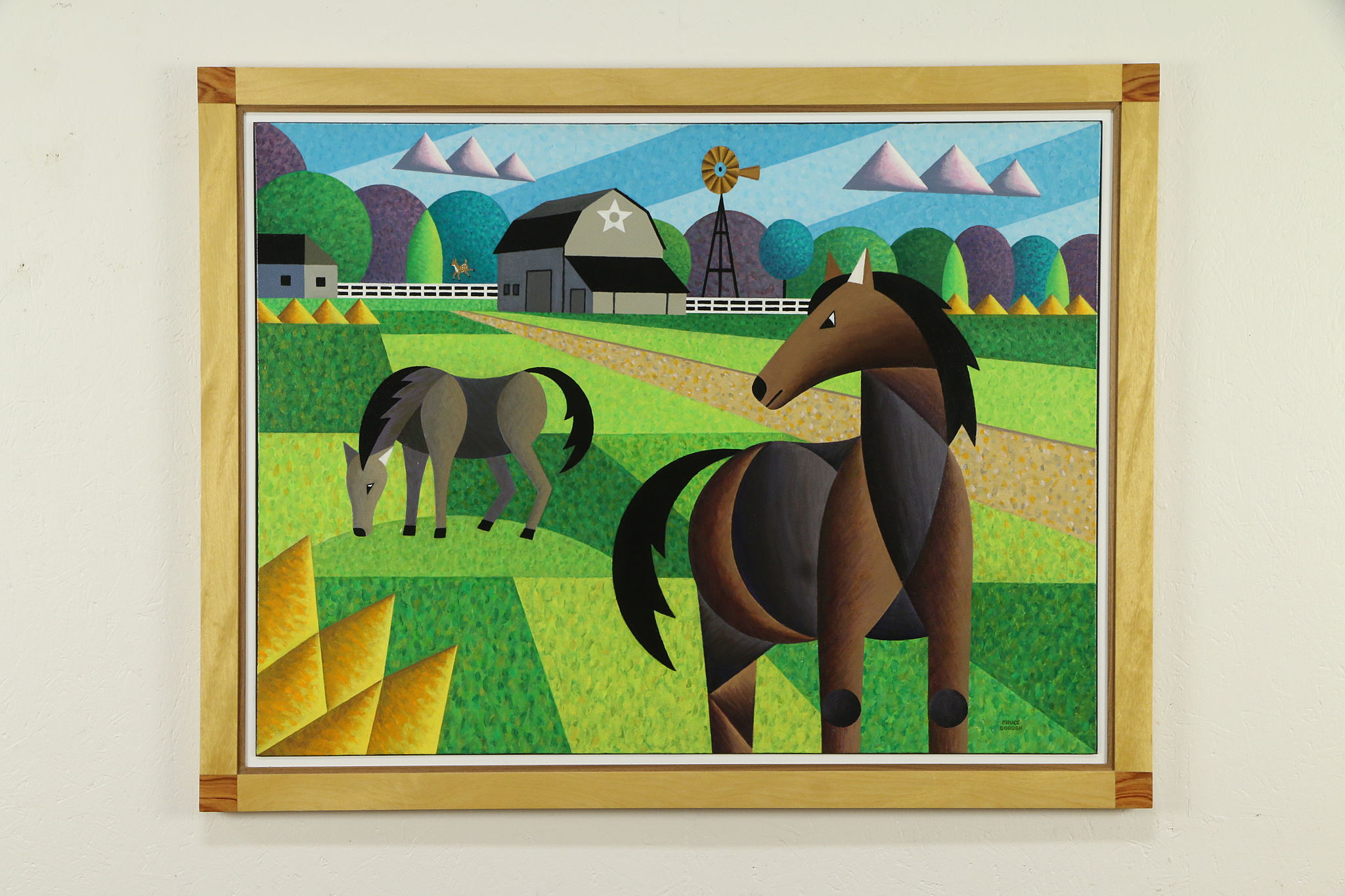 Horse Farm Original Acrylic Painting Custom Exotic Frame Bruce Bodden 33132 Harp Gallery Antiques Furniture