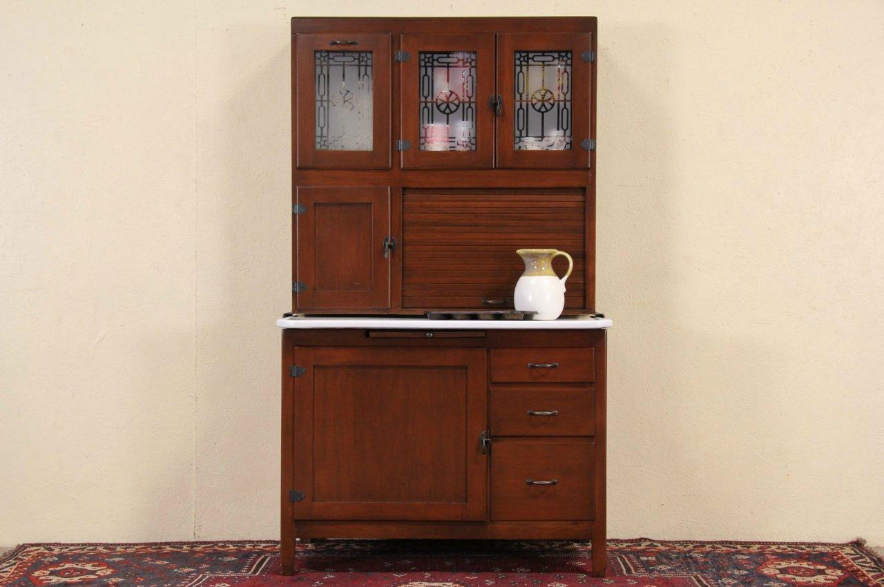 Hoosier Maple 1920u0027s Antique Kitchen Cupboard, Porcelain Top ...