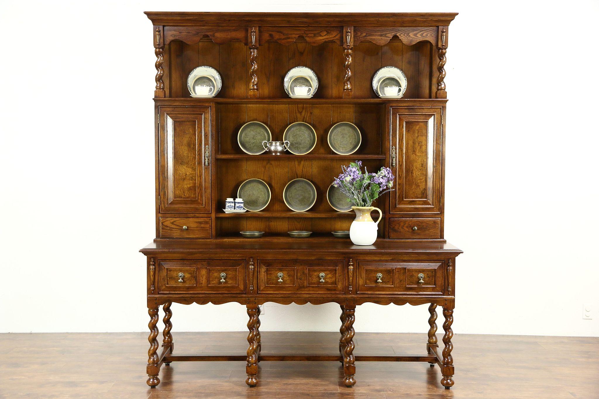 Oak Henredon Signed Vintage Welsh Dresser, Pewter Cupboard Or Sideboard