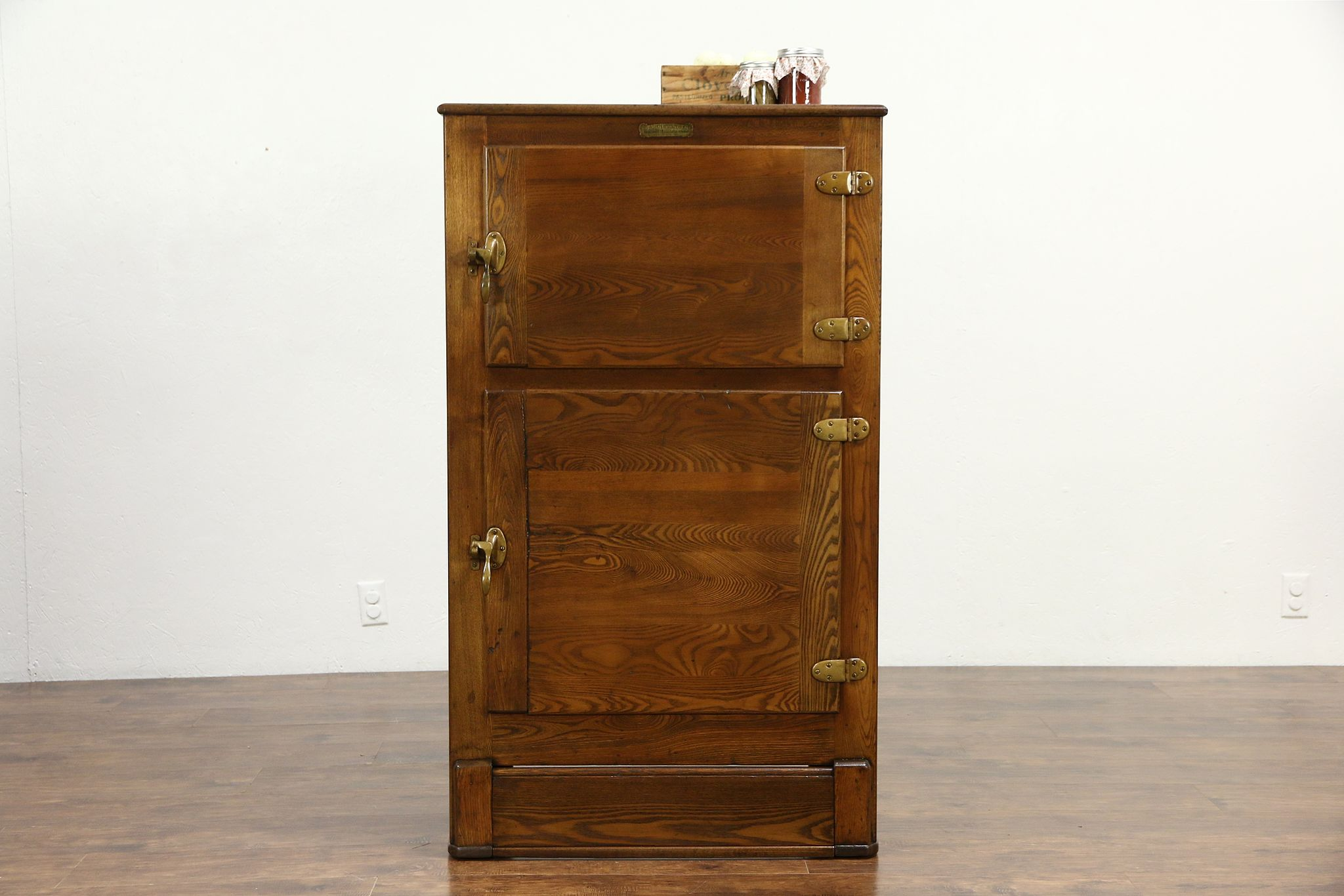 Oak 1910 Antique Kitchen Pantry Ice Box, Signed Rhinelander Refrigerator, WI