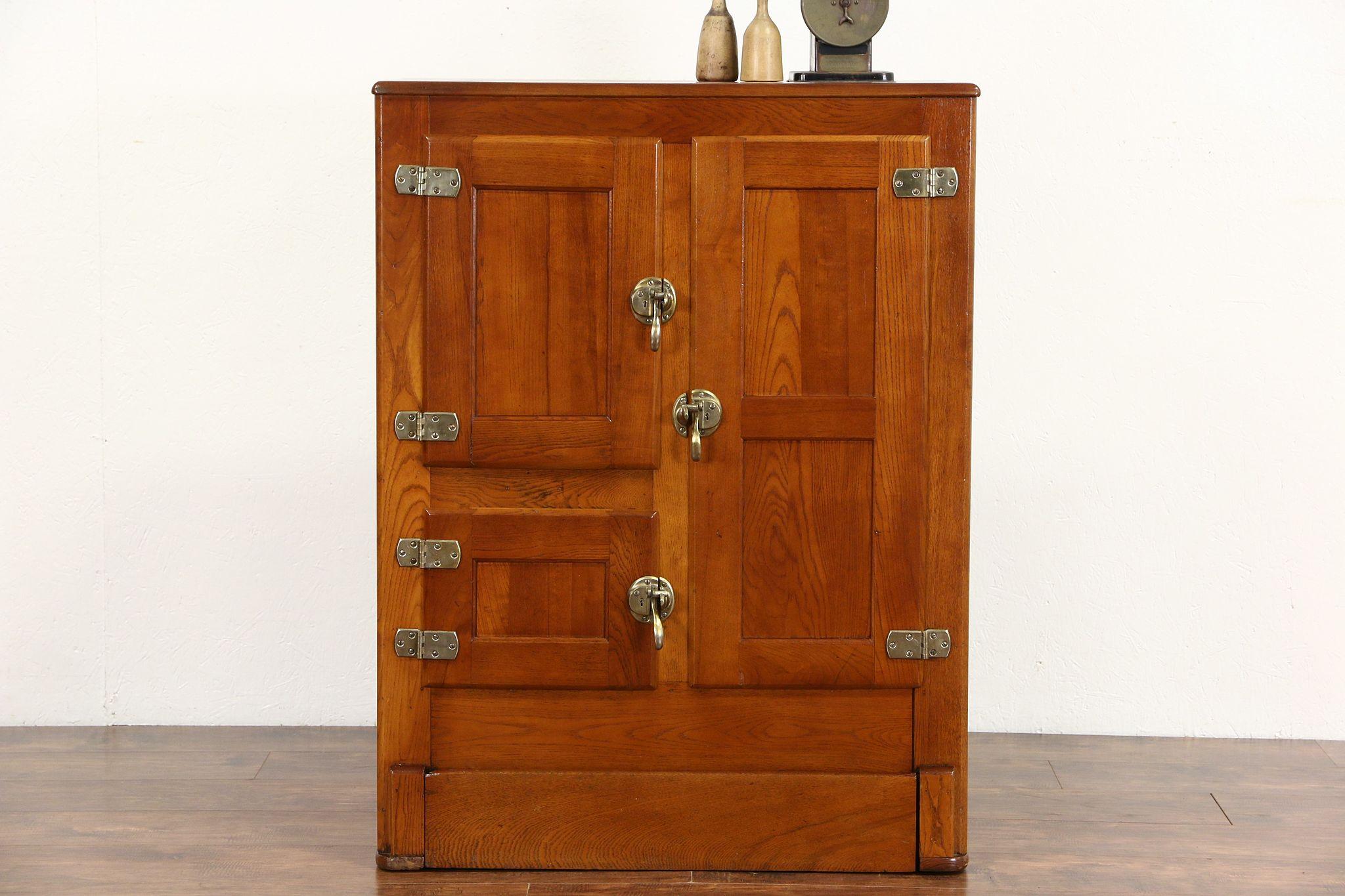 Beautiful Oak Ice Box, 1900 Antique Refrigerator, Original Brass Hardware