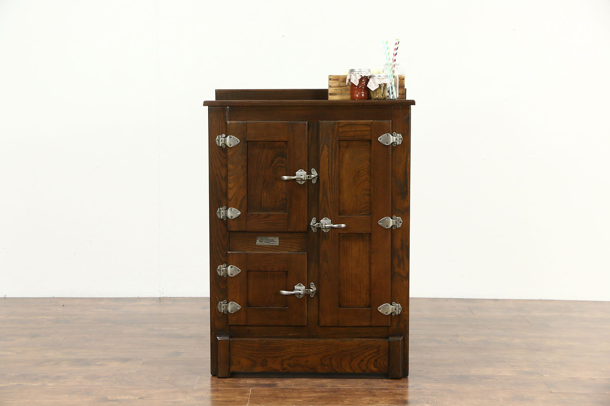 Oak Antique 1900 Kitchen Pantry Ice Box, Signed Gibson of Cambria