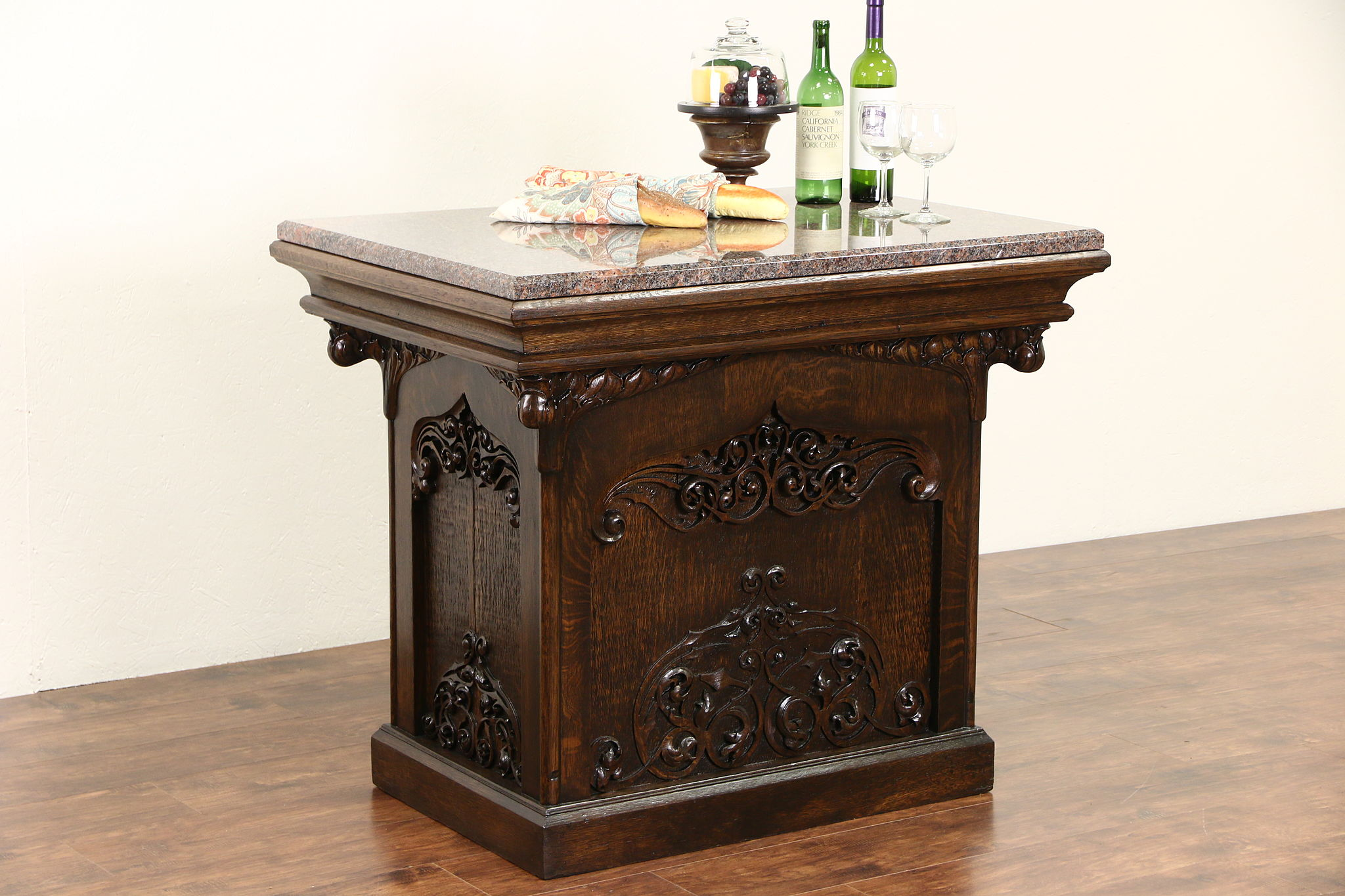 Carved Oak 1890 Antique Kitchen Island Wine Tasting Table Granite Top Harp Gallery