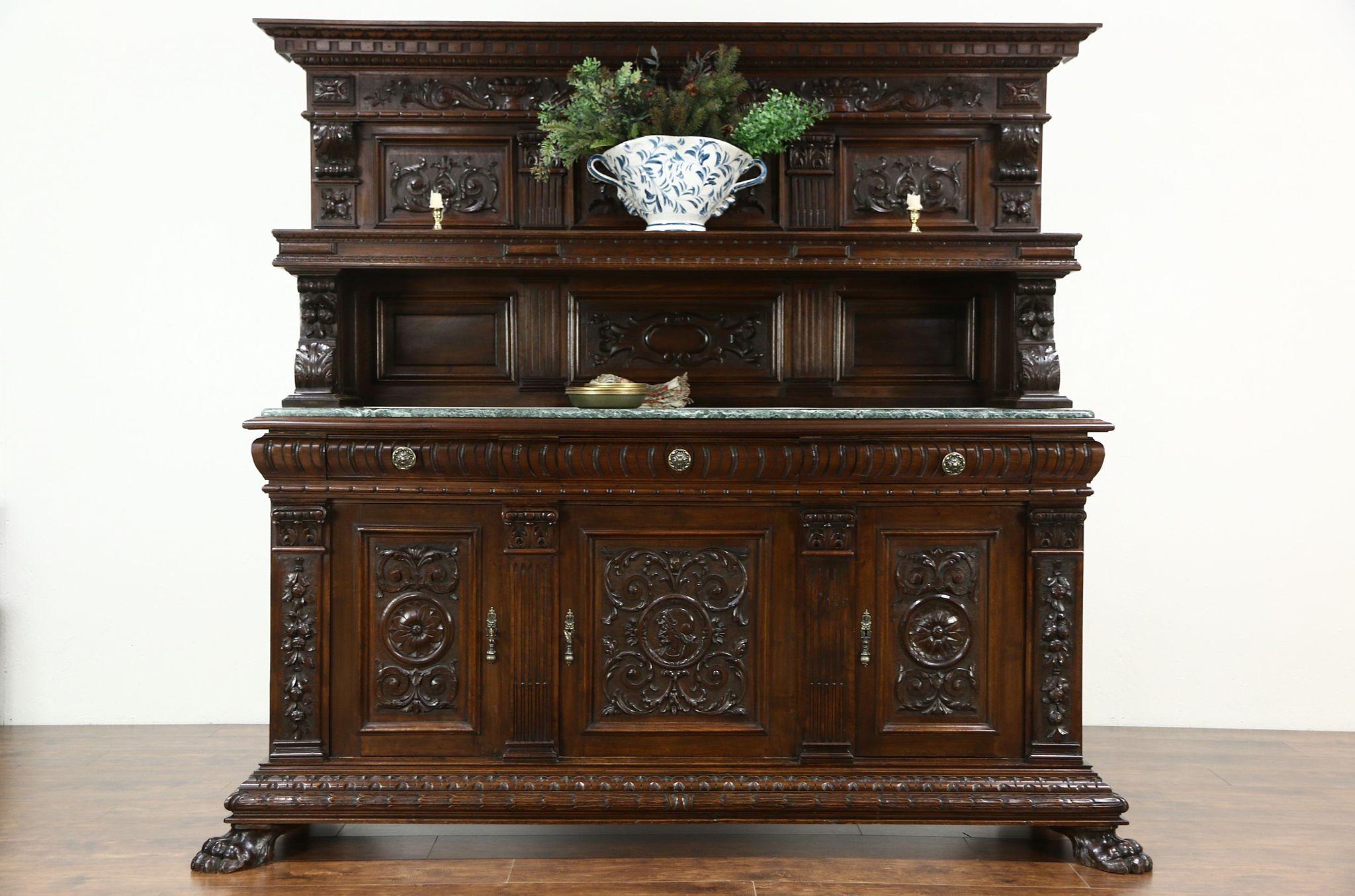 Italian Renaissance 1900 Antique Back Bar, Server or Sideboard, Marble Top