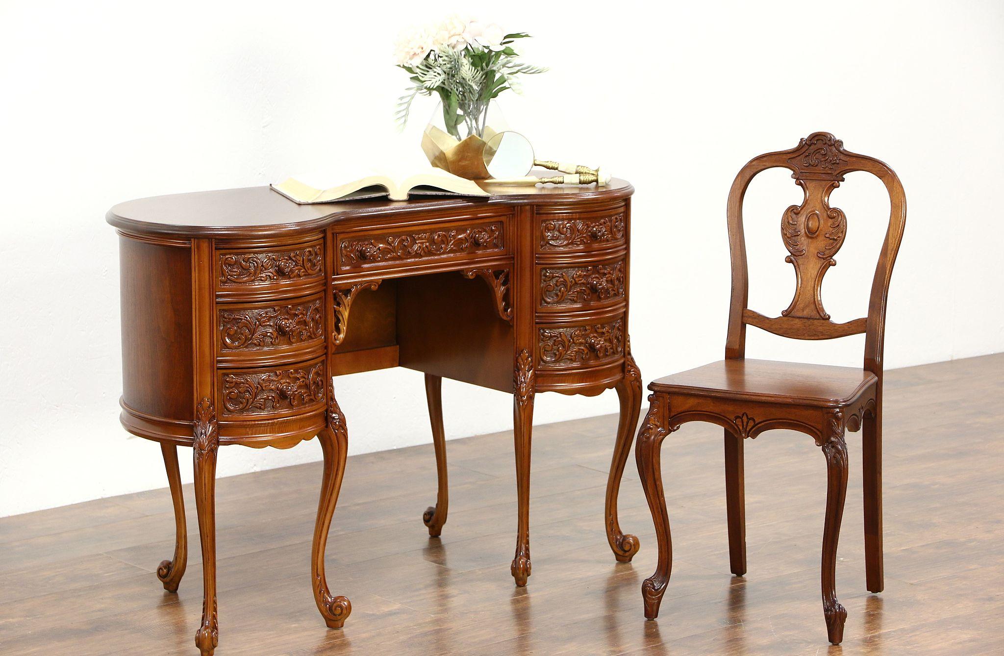 SOLD Kidney Shape 1940 s Vintage Writing Desk & Chair Set