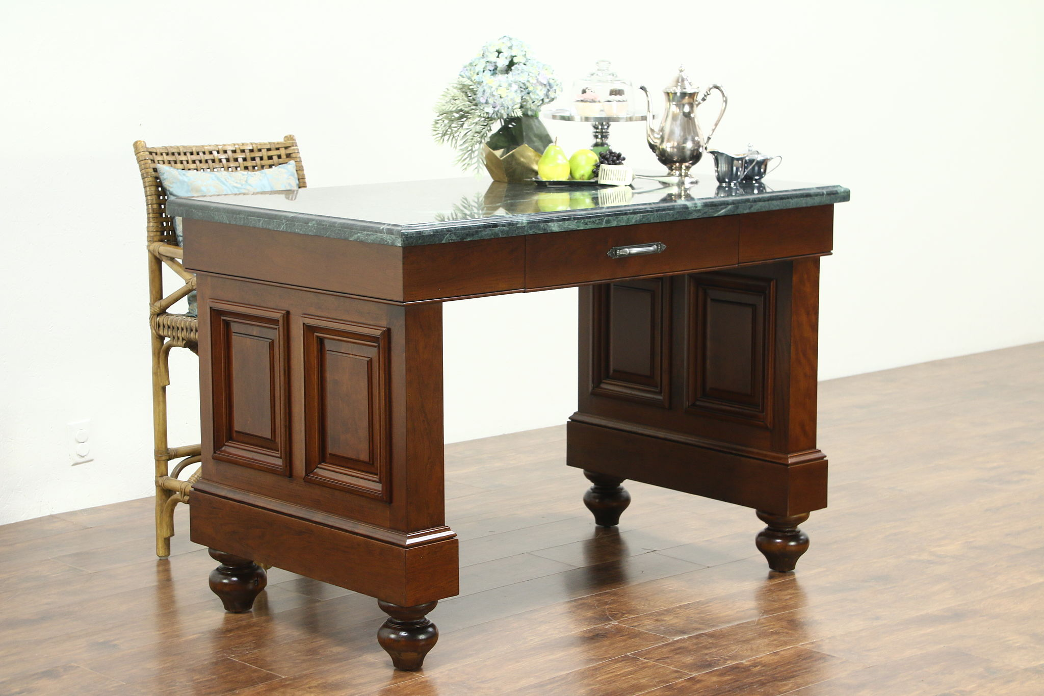 Cherry Vintage Bank Counter Kitchen Island or Wine Tasting Table