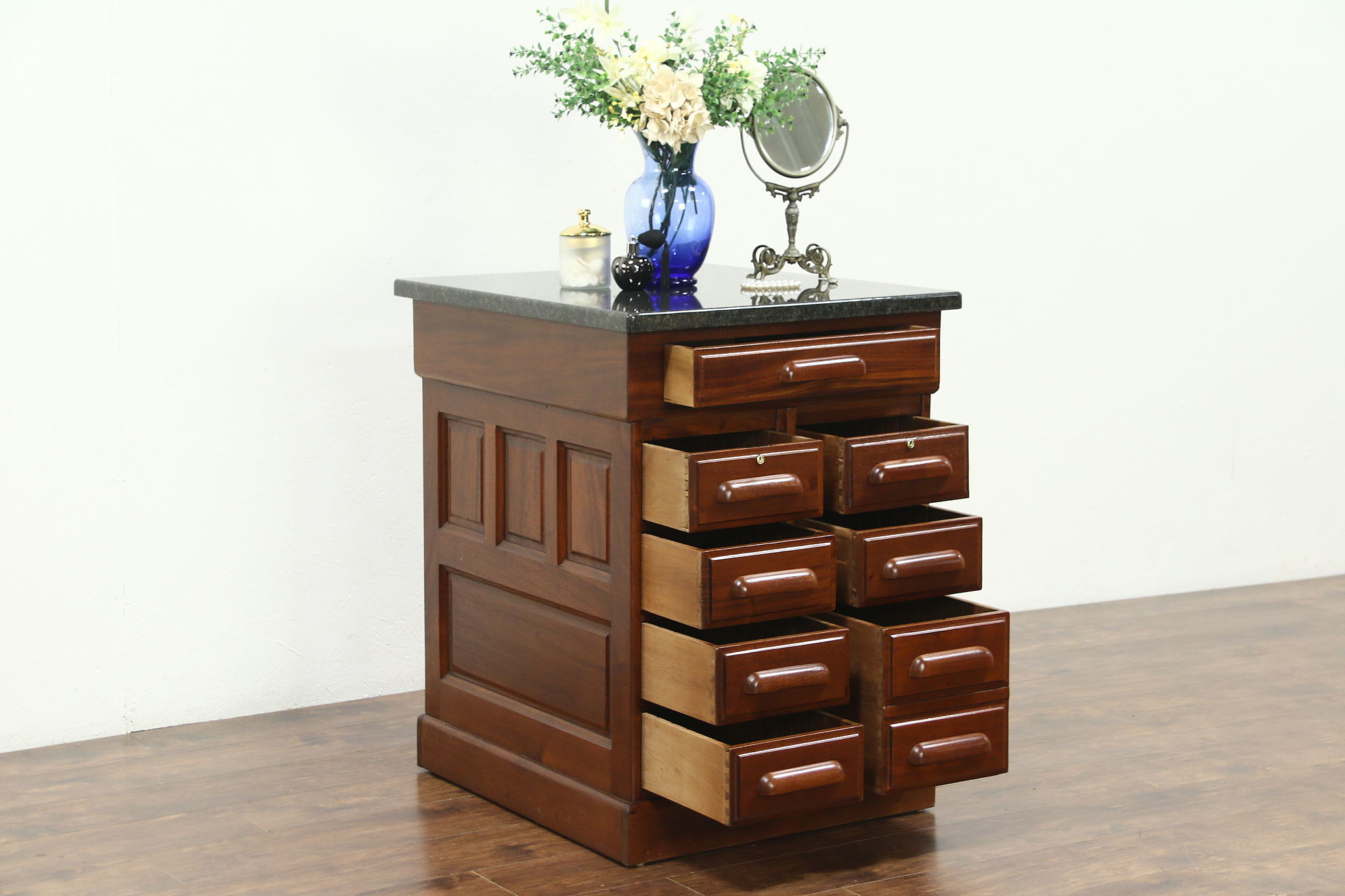 Mahogany Antique Kitchen Island Counter, Wine Tasting Table, Granite Top
