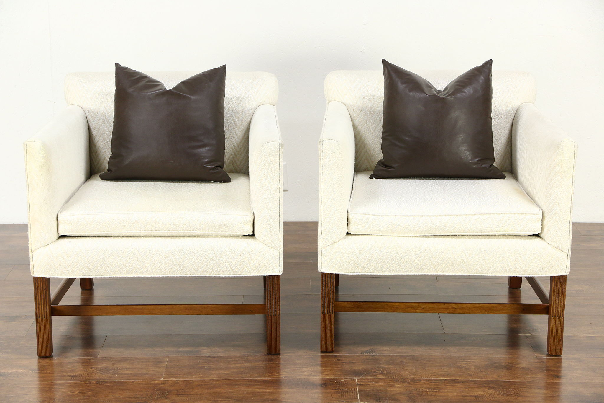 Pair Kittinger Signed Vintage Chairs with Arms  Original Upholstery. Pair Kittinger Signed Vintage Chairs with Arms  Original