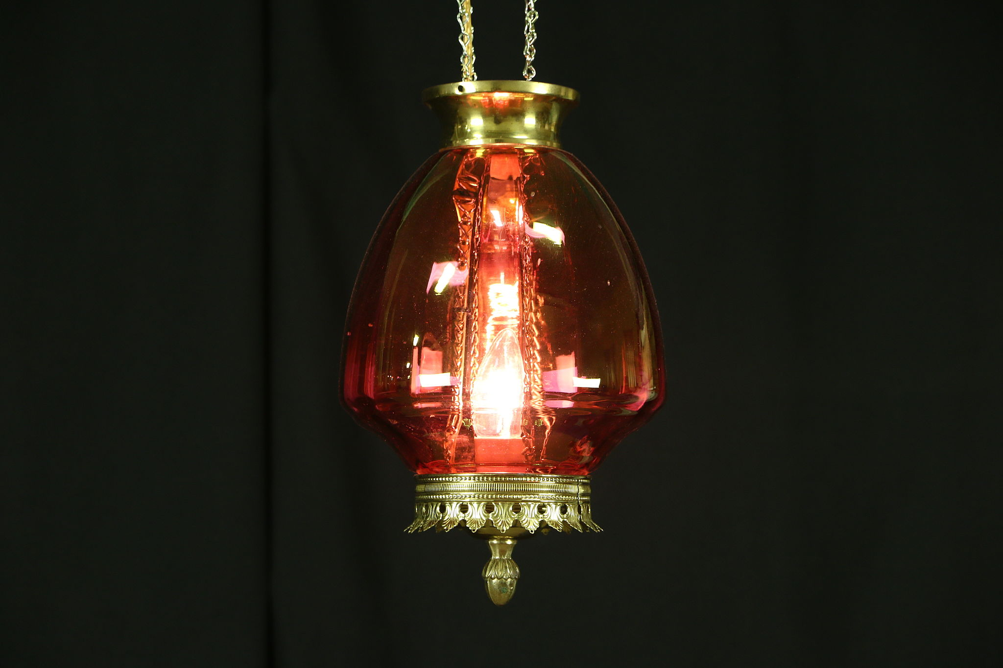 Sold Cranberry Glass 1880 Antique Oil Lamp Hall Light