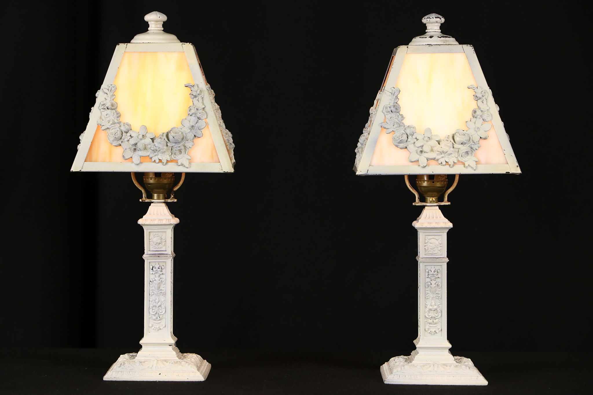 Pair Of 1915 Boudoir Lamps, Stained Glass Shades, ...