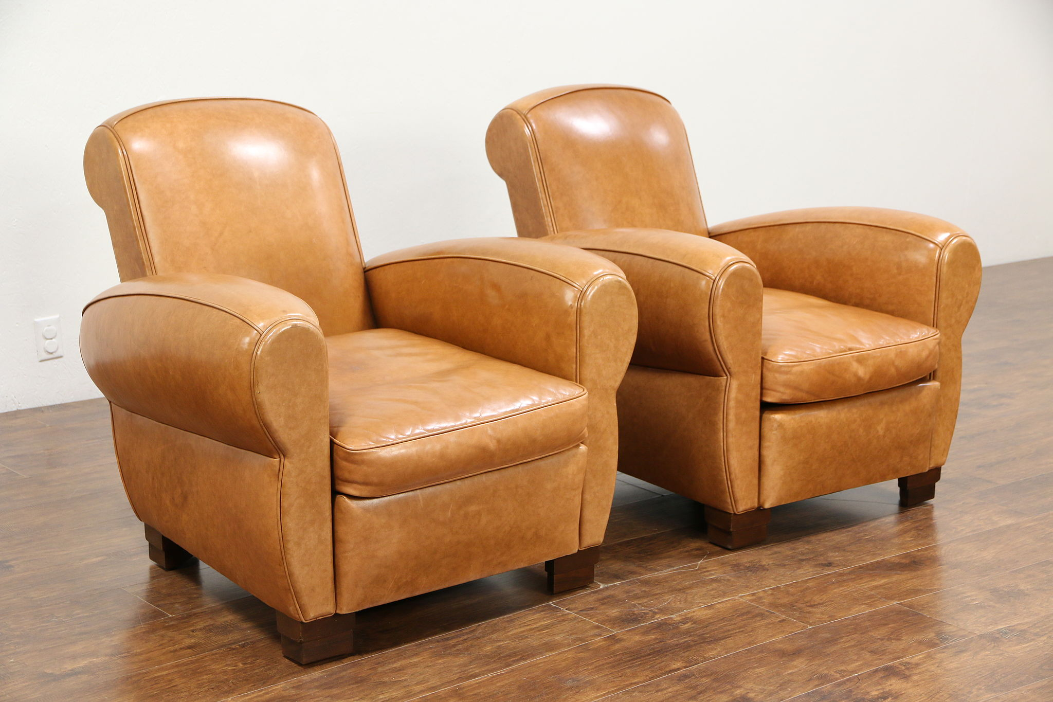 Pair Of Vintage French Art Deco Style Leather Club Chairs