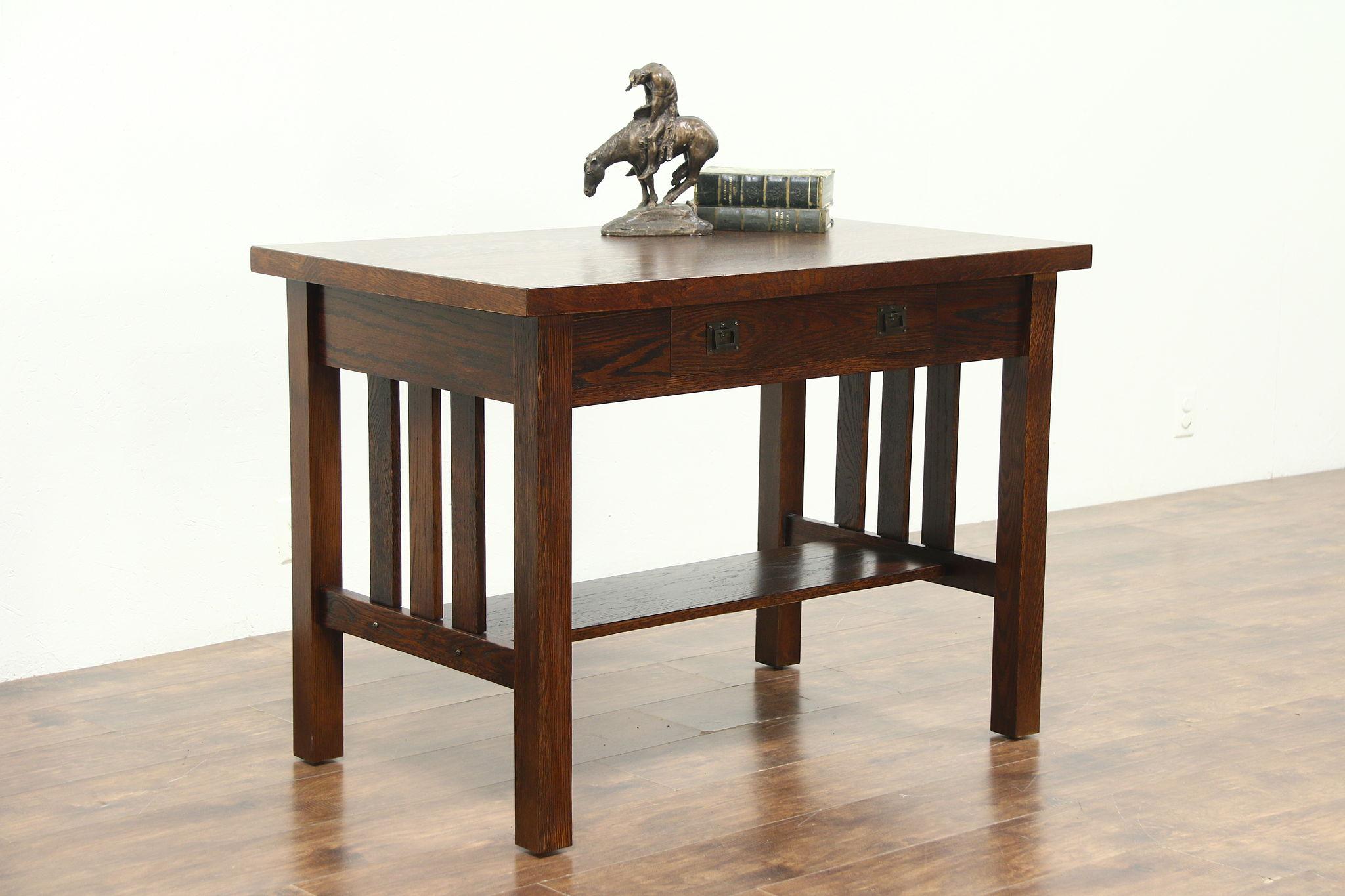 Arts Crafts Mission Oak Antique Library Table Craftsman Writing Desk