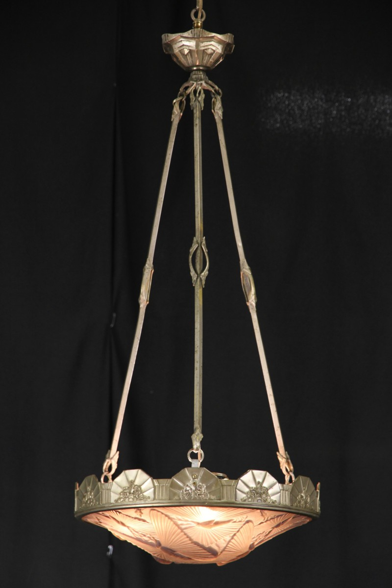 sold french art deco 1925 era butterfly motif chandelier light fixture harp gallery. Black Bedroom Furniture Sets. Home Design Ideas