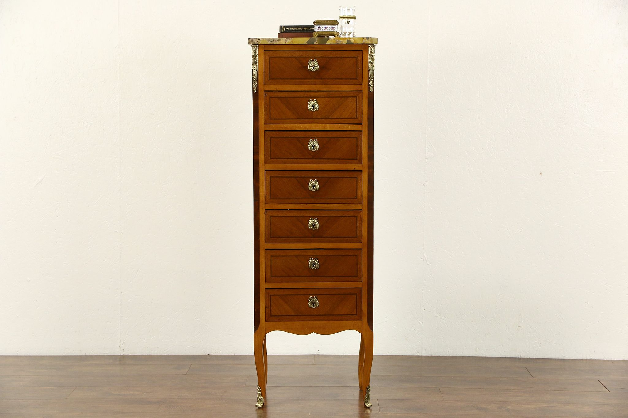 Sold French 1920 Antique Semainier 7 Drawer Lingerie Chest Marble Top Harp Gallery Antiques Furniture