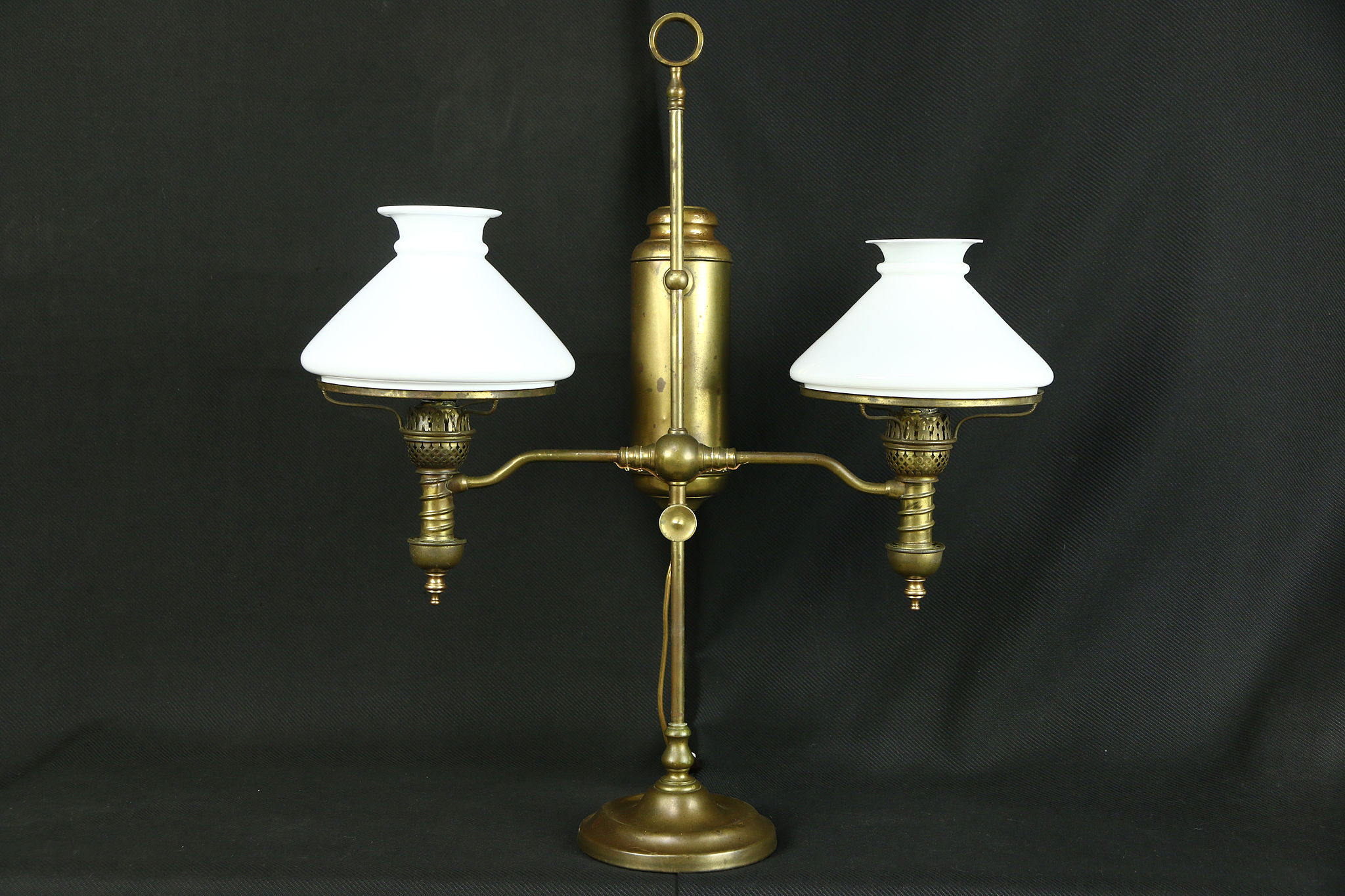 Victorian Antique Double Oil Desk Lamp Milk Glass Shades Electrified