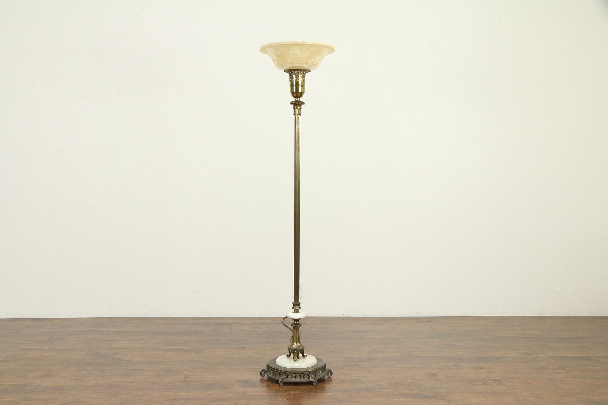Sold Torchiere Vintage Floor Lamp Onyx Mounts Embossed Glass Shade 32129 Harp Gallery Antiques Furniture