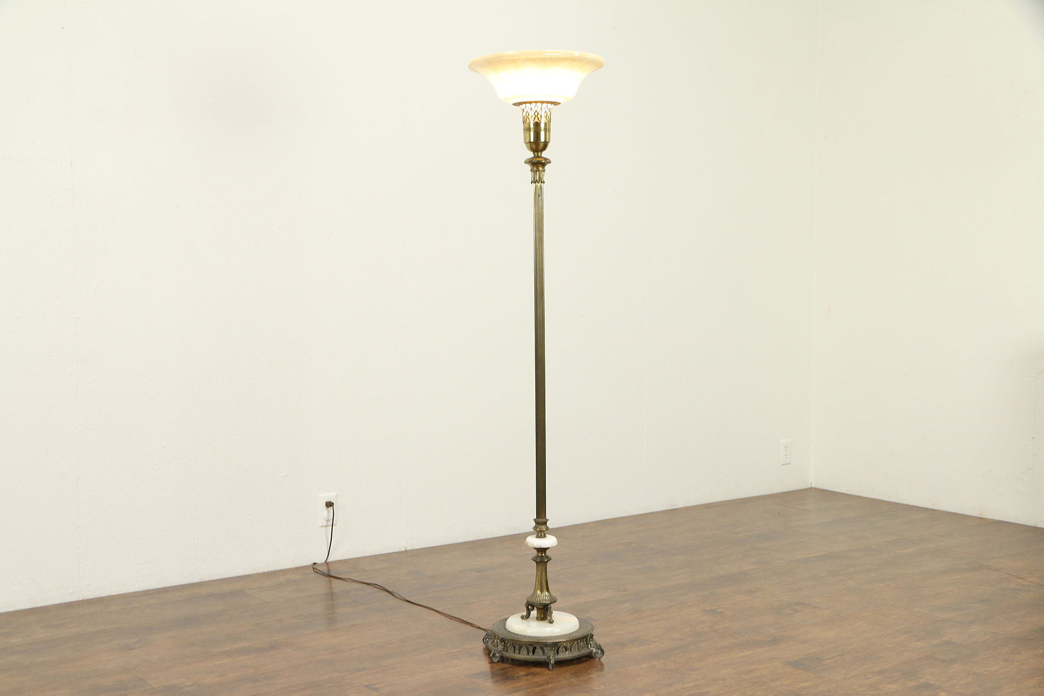 Sold Torchiere Vintage Floor Lamp Onyx Mounts Embossed Glass