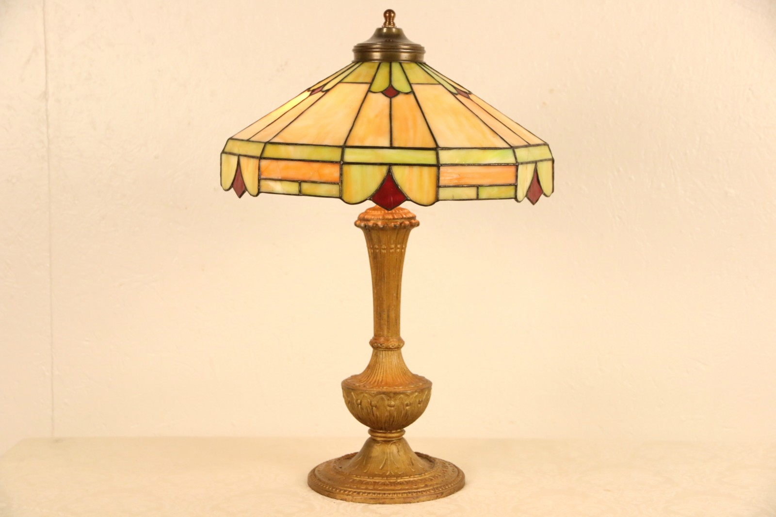 Sold Lamp With Leaded Stained Glass Shade 1915 Antique