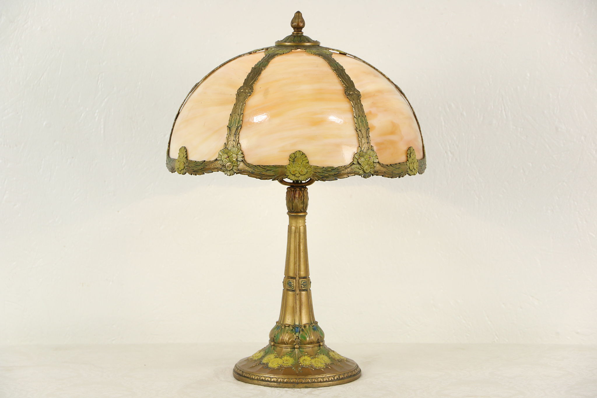 Sold Curved Stained Glass 1915 Antique Lamp Base With Original Paint Harp Gallery Antiques Furniture