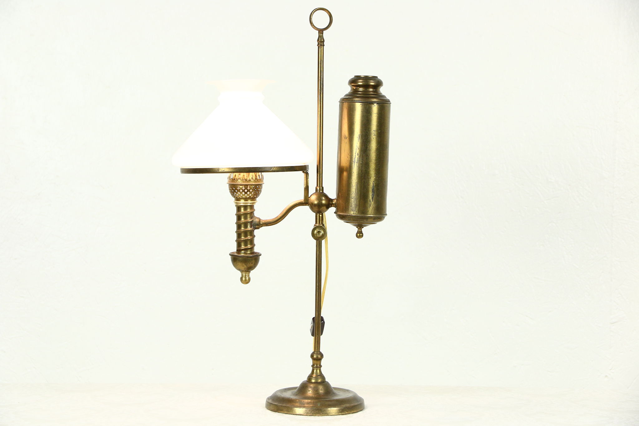Victorian Student Oil Desk Lamp Electrified Signed Manhattan Brass Pat 1874