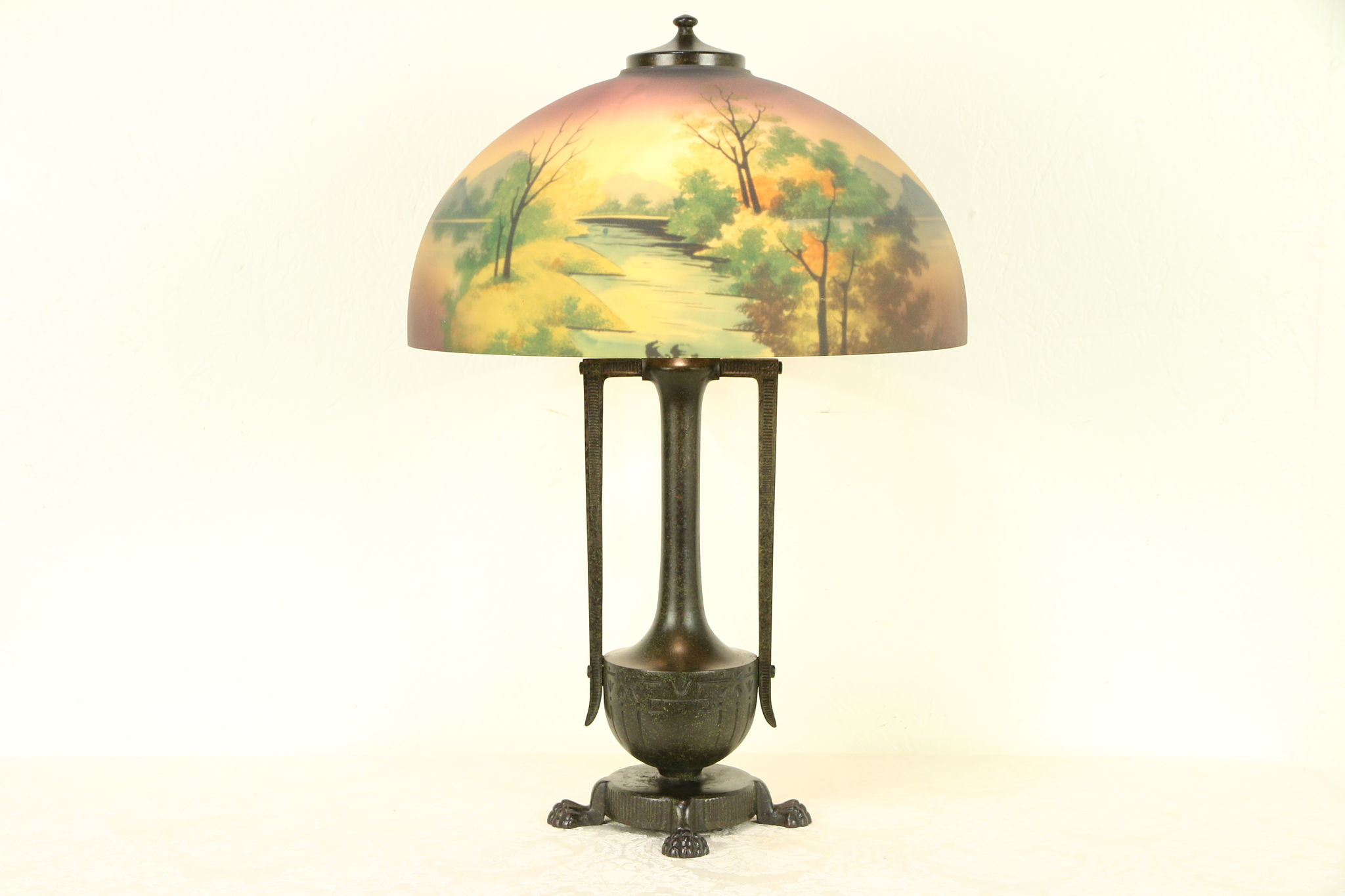 Sold Moe Bridges Signed Antique Lamp Reverse Painted Glass Shade 30421 Harp Gallery Antiques Furniture