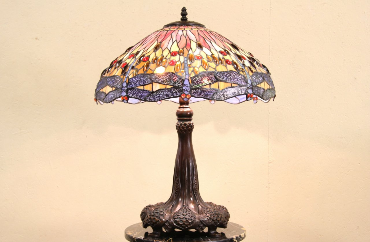 Sold Dragonfly Tiffany Stained Glass Replica Bronze Lamp