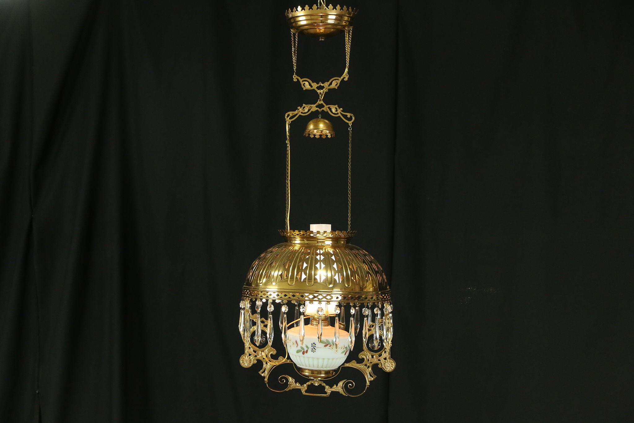 SOLD - Victorian 1880 Antique Hanging Lamp Brass Shade Light Fixture ...
