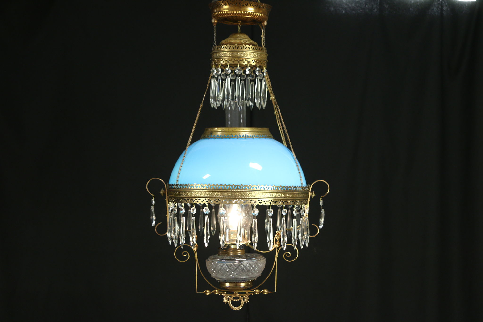 Victorian Antique Hanging Lamp Or Chandelier Blue Art Glass Shade Electrified