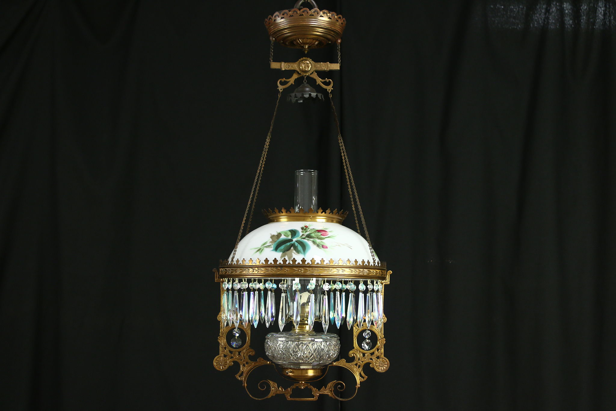 Victorian Antique Hanging Oil Or Kerosene Lamp Hand Painted Rose Glass Shade