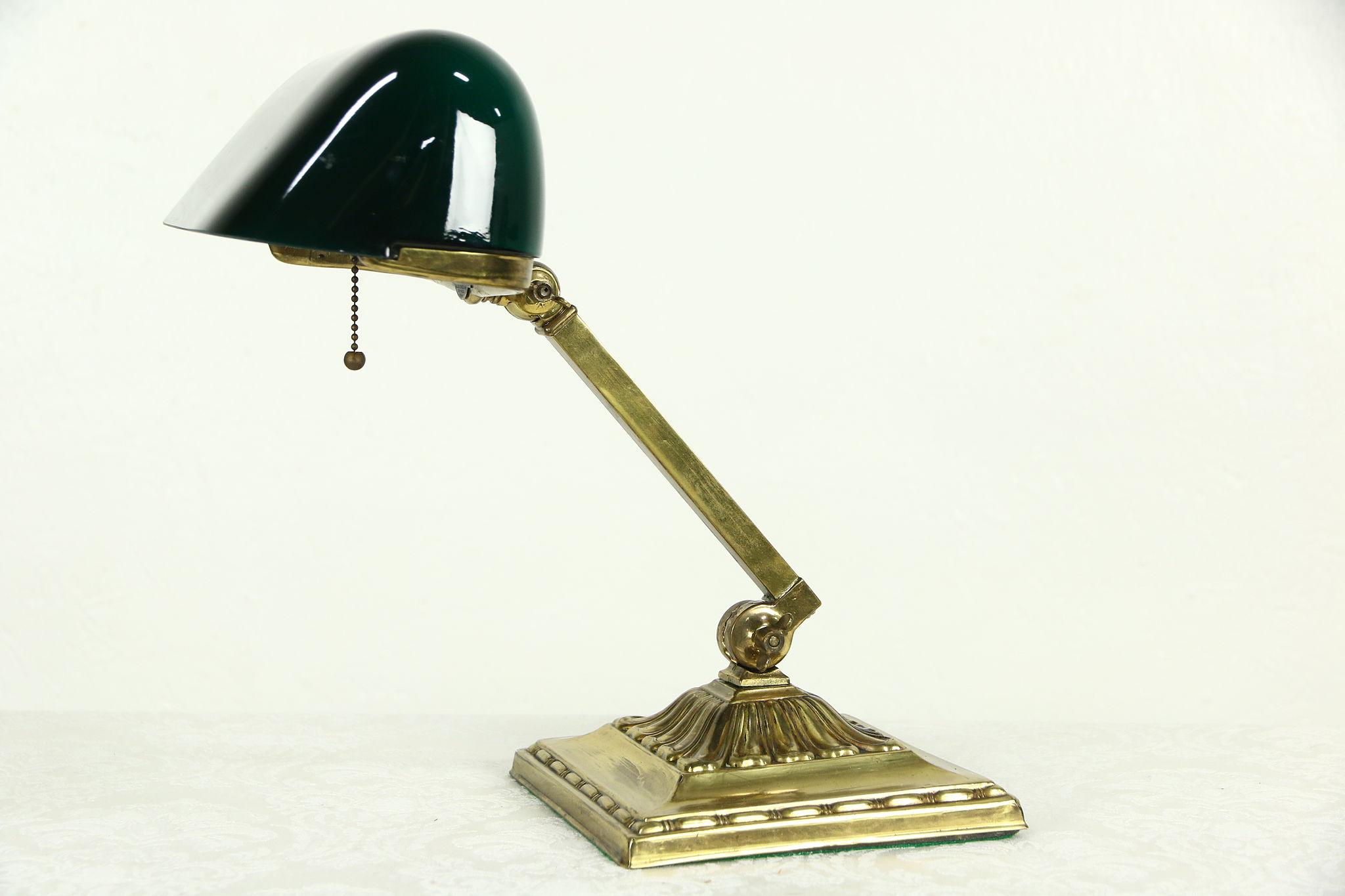 SOLD - Emeralite Emerald Green 1916 Pat. Antique Brass Banker Desk ...