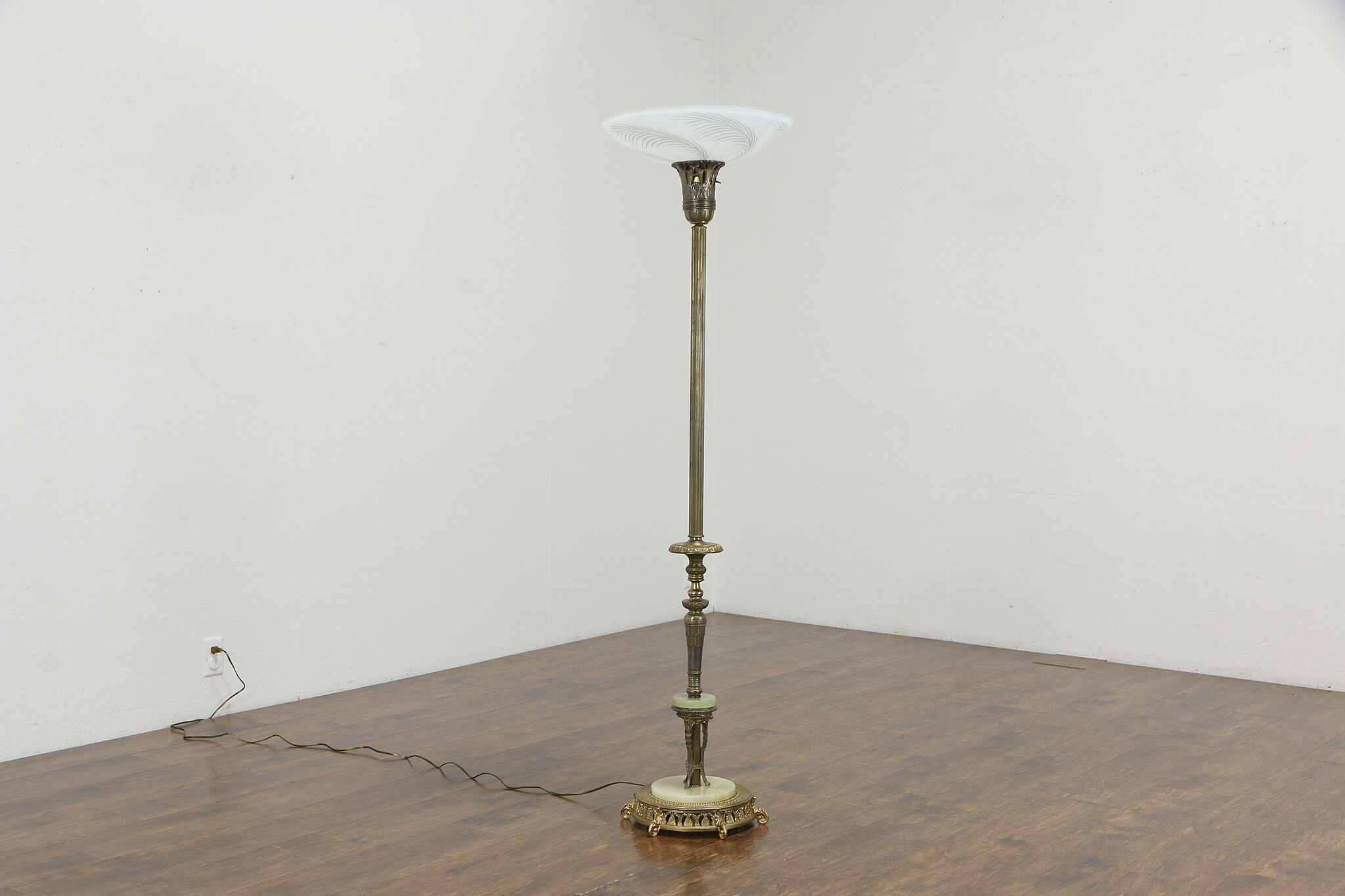 Torchiere Vintage Floor Lamp Onyx Brass Mounts Etched Glass Shade 35871 Harp Gallery Antiques Furniture