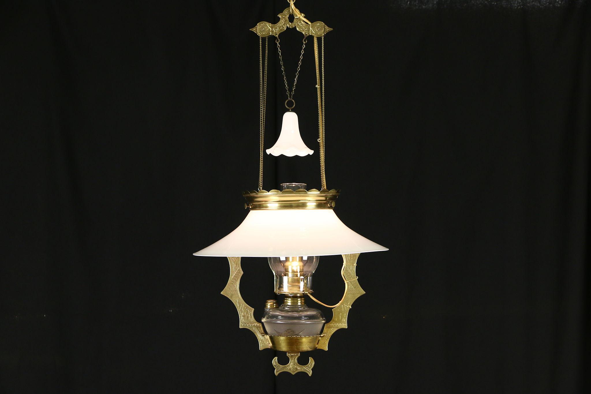 SOLD - Victorian 1880\'s Antique Brass Hanging Light Fixture ...