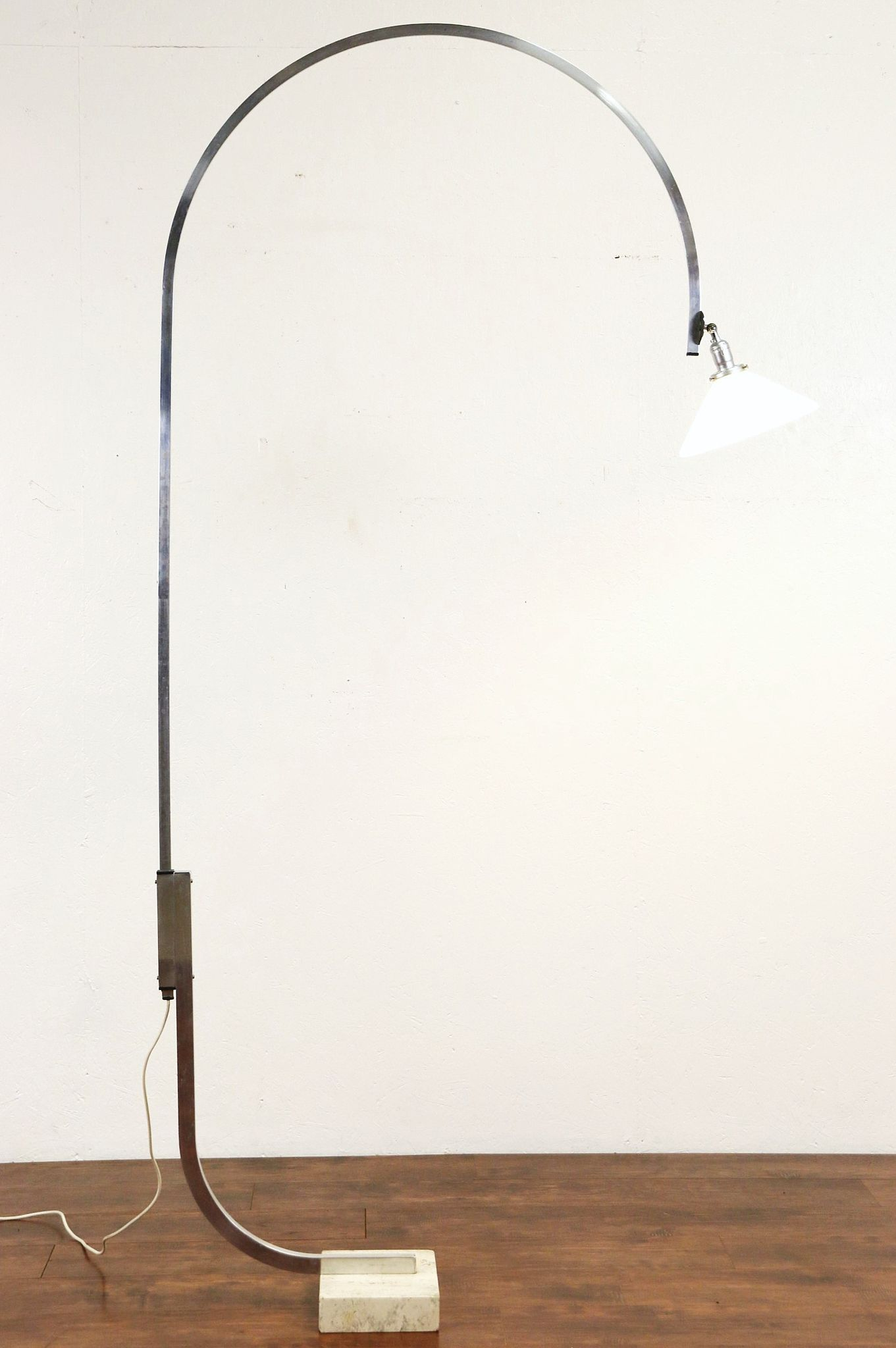 Sold Arc Adjustable Mid Century Floor Lamp Travertine Marble Base 1960 S Vintage Harp Gallery Antiques Furniture