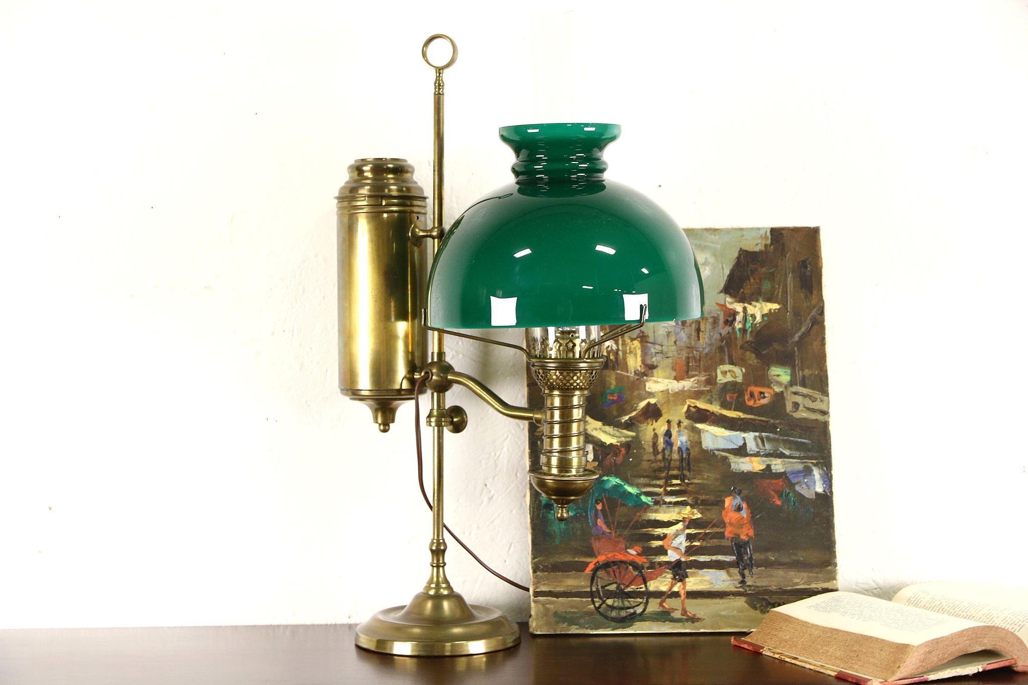 Brass Student Desk 1900 Oil Lamp Green Glass Shade Electrified