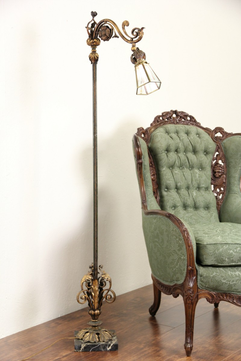 Wrought Iron 1920s Antique Bridge Reading Floor Lamp Marble Base