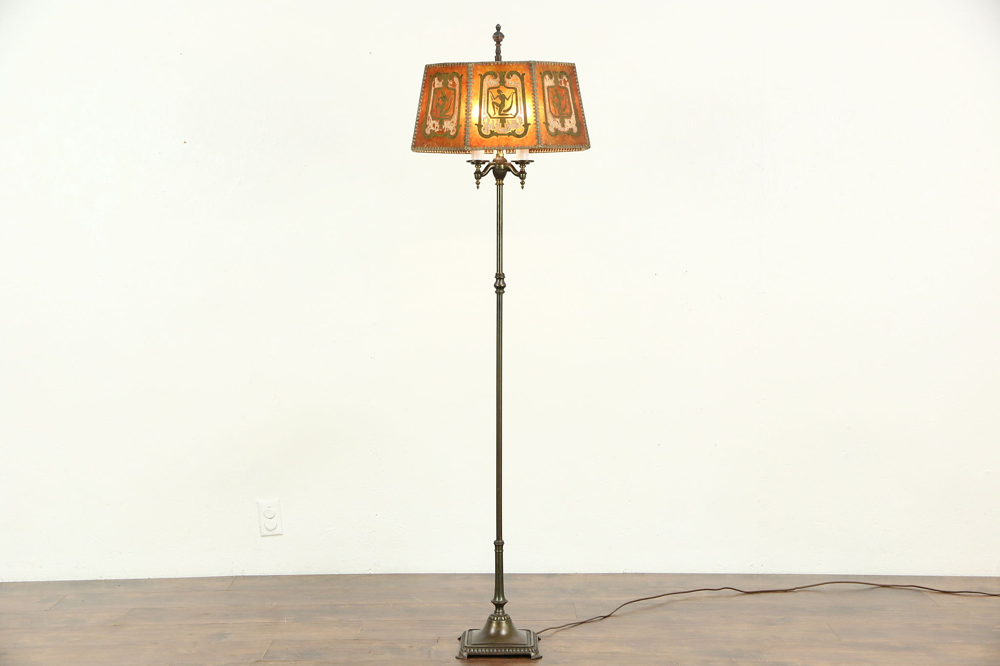 SOLD - Rembrandt Signed 1920 Antique Floor Lamp, Painted Mica ...