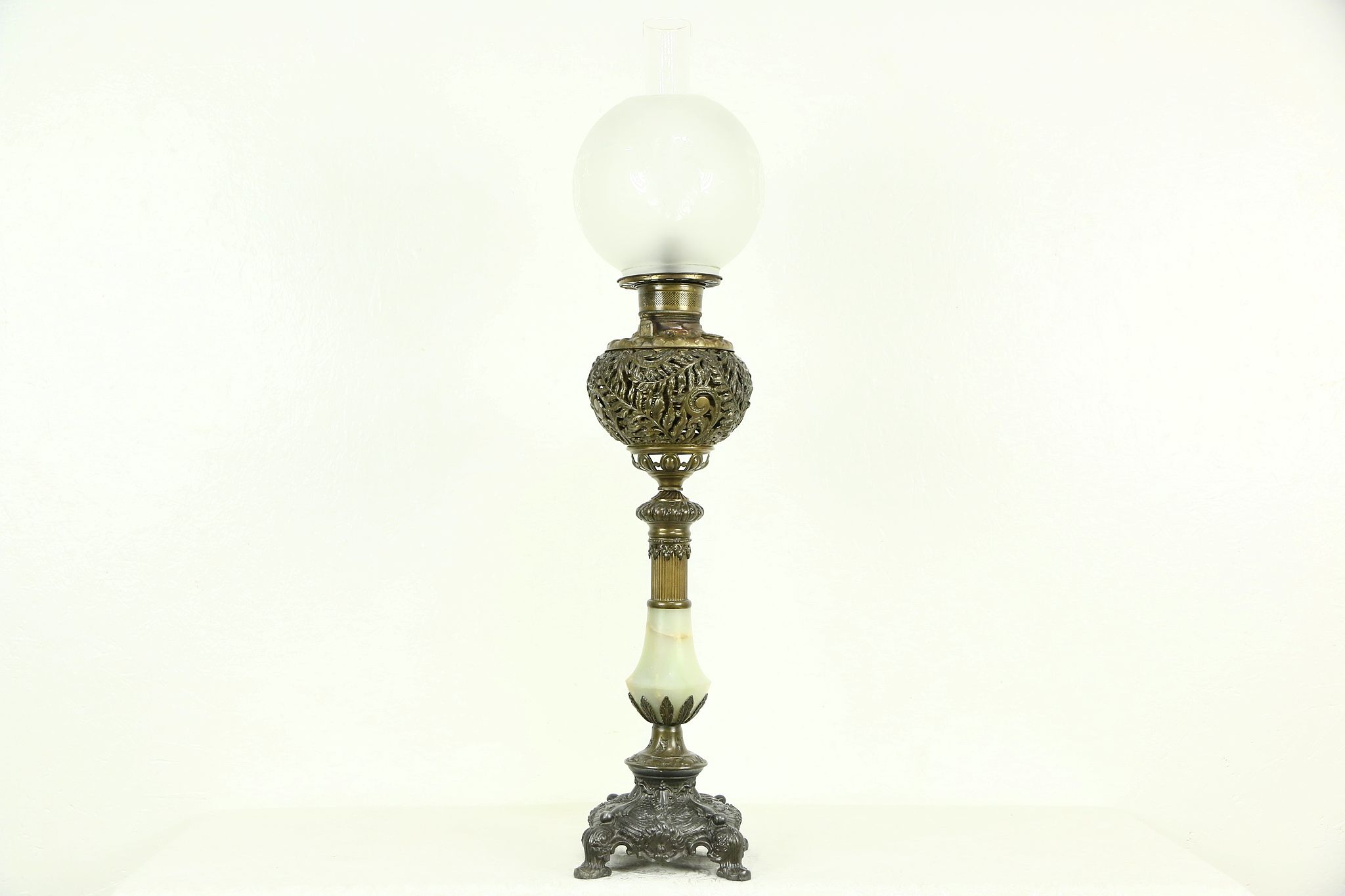 Victorian Antique 1890's Pewter, Brass & Onyx Oil Banquet Lamp, Electrified