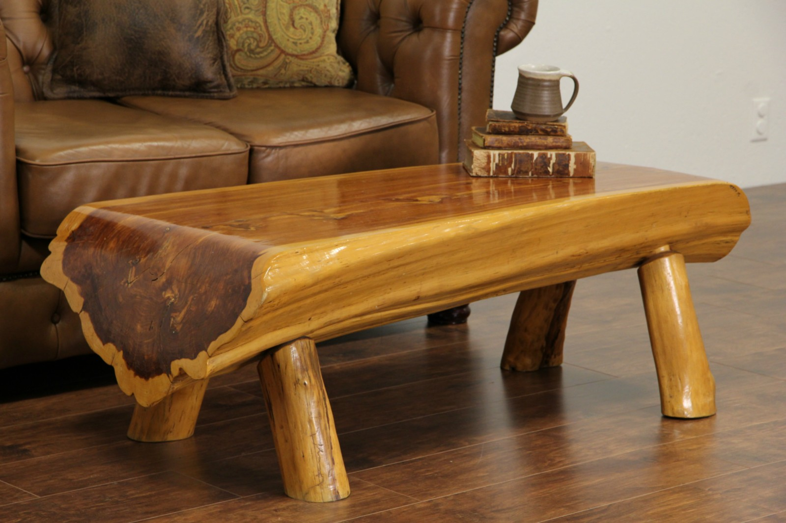 Sold cedar log vintage rustic coffee table or bench for Log coffee table