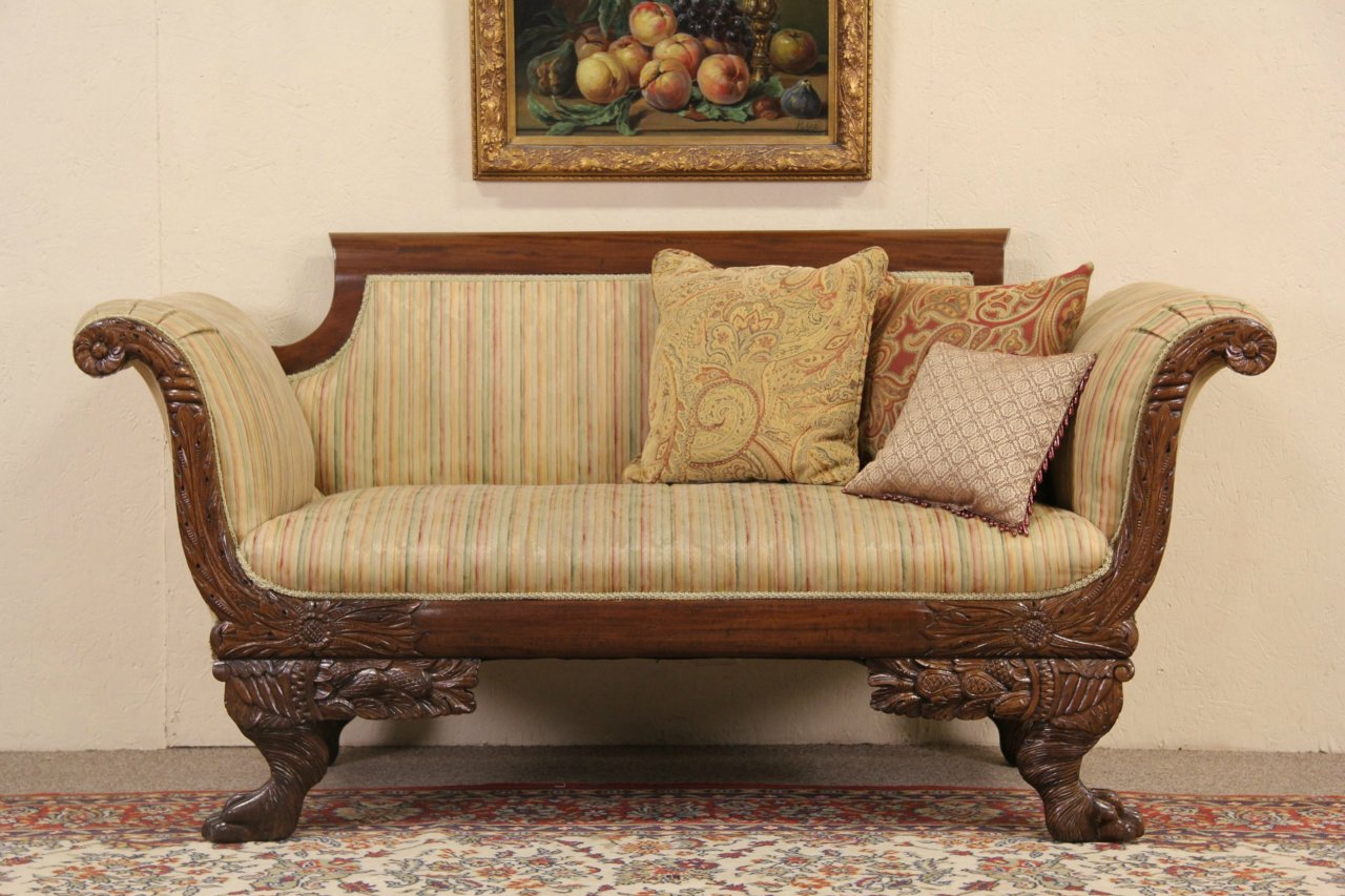 Sold Empire 1900 Antique Carved Sofa Or Loveseat Lion