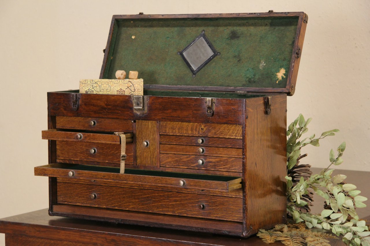 SOLD Machinist Oak 1920s Tool Chest Collector or Jewelry Box