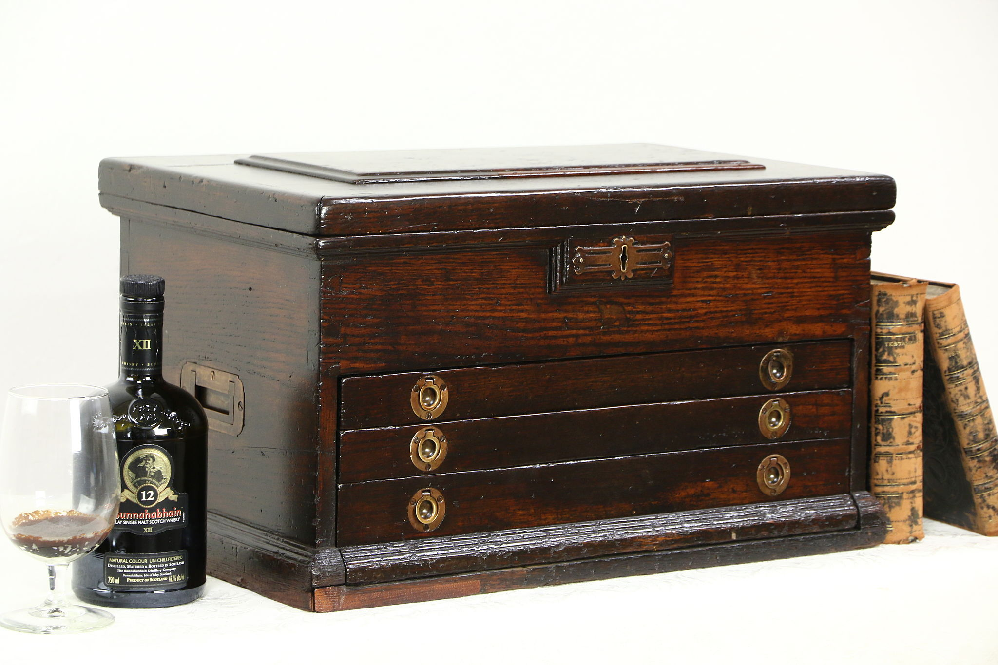 Sold Oak 1890 Antique 3 Drawer Machinist Tool Box