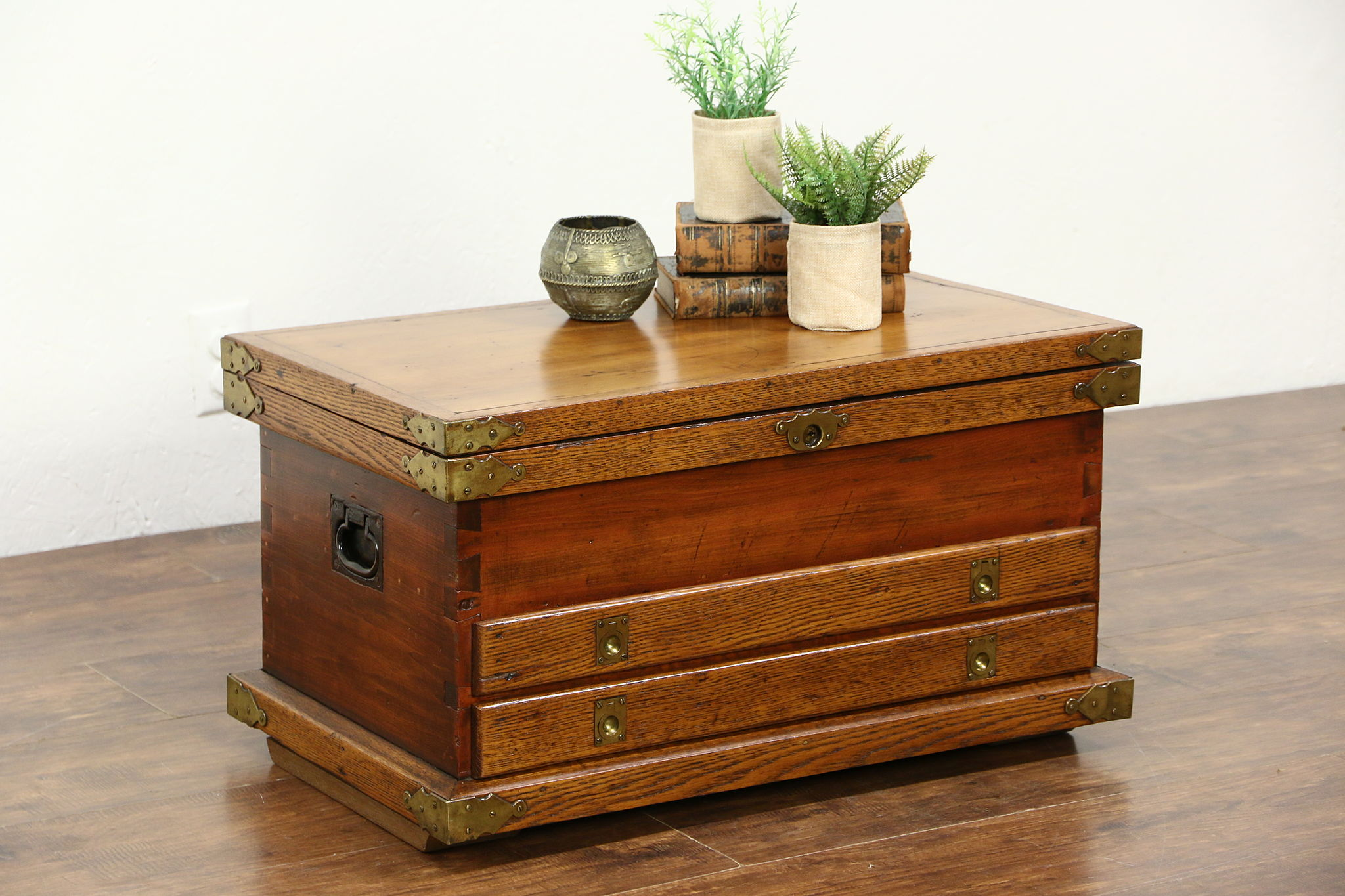 SOLD Oak & Pine 1890 s Antique Handcrafted Tool Chest or Rustic