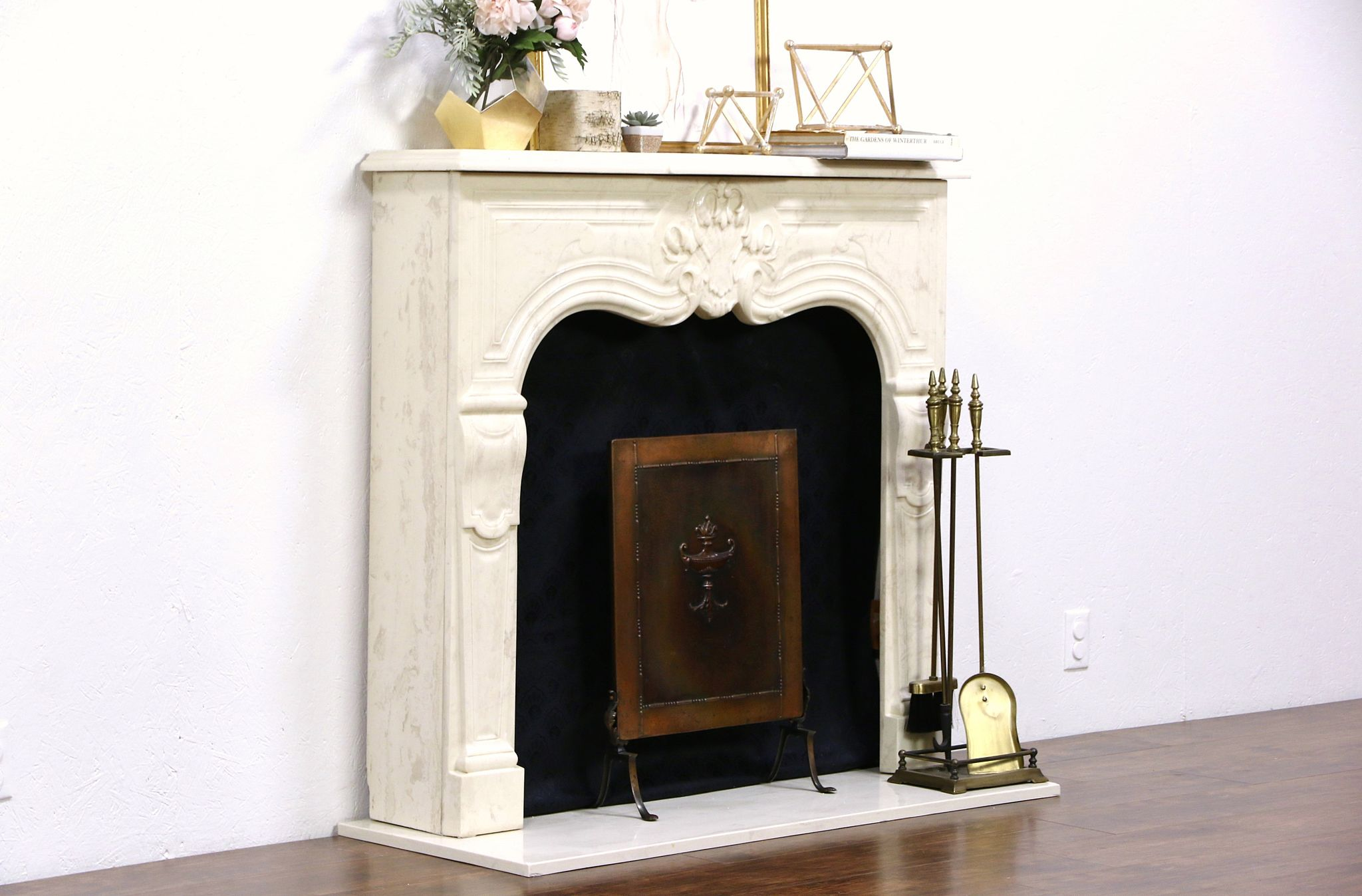 Sold cultured faux marble fireplace mantel surround for Faux marble fireplace mantels