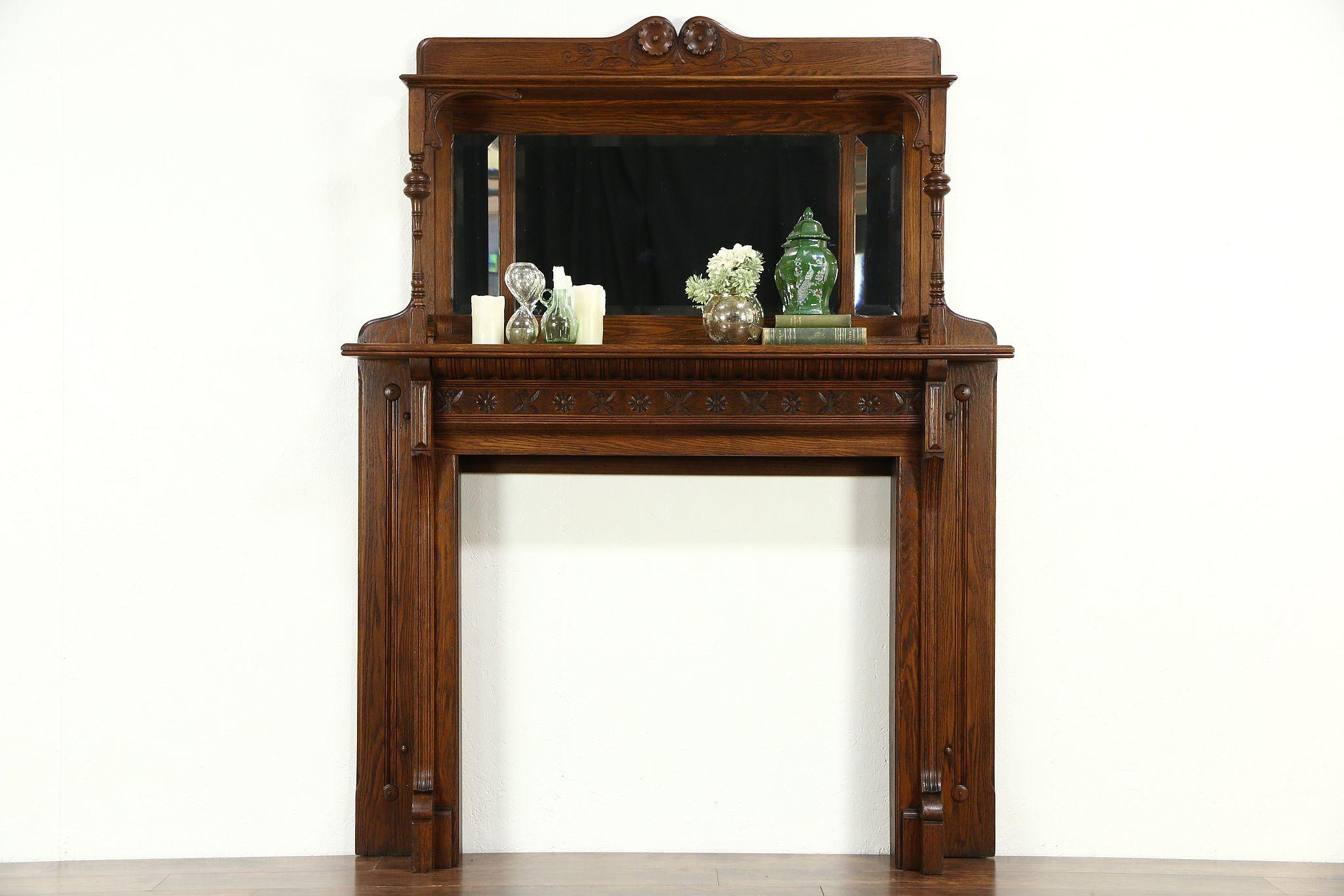 Victorian Eastlake Oak Antique Architectural Salvage Fireplace Mantel Mirrors