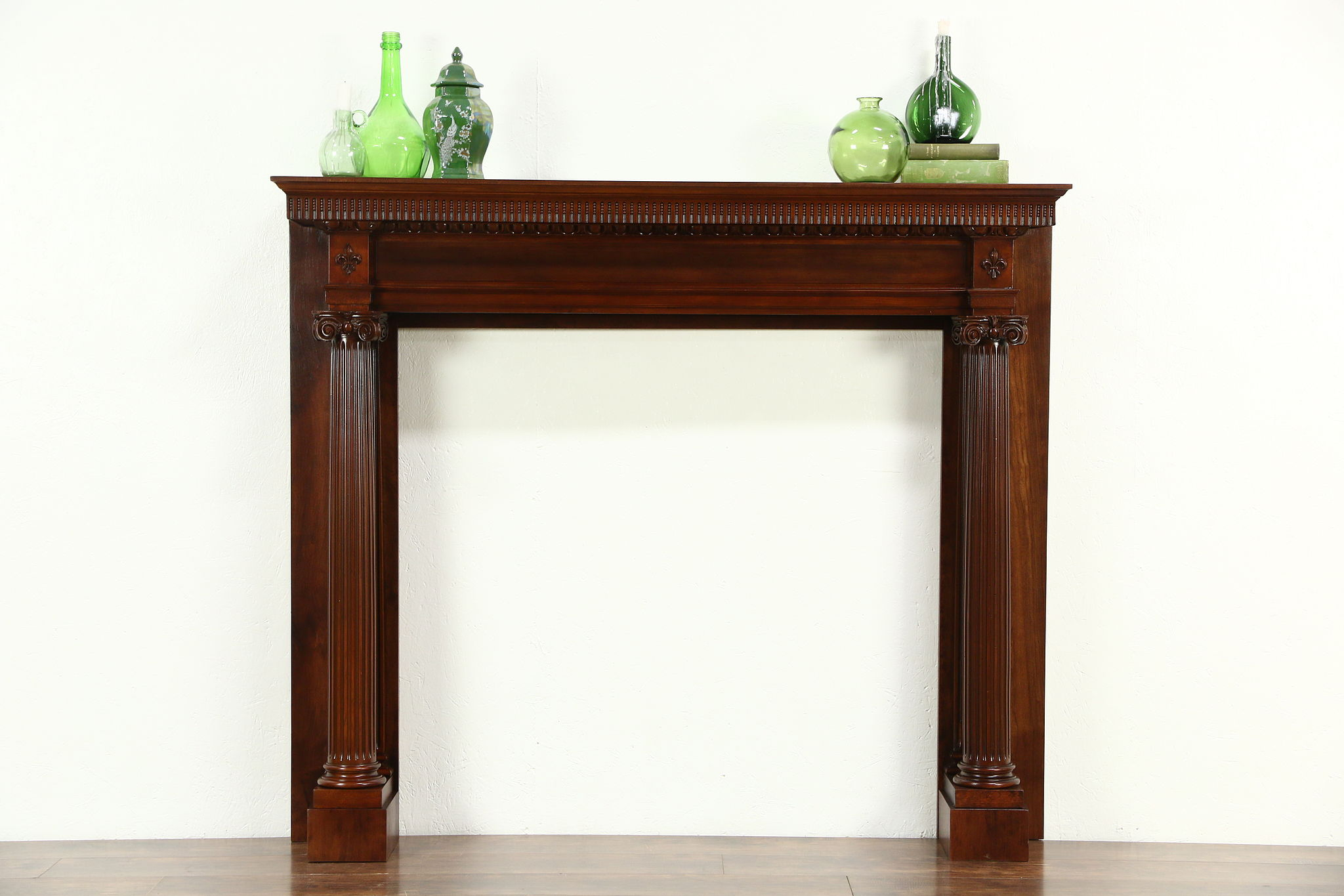 sold cherry classical fireplace mantel antique 1899 milwaukee