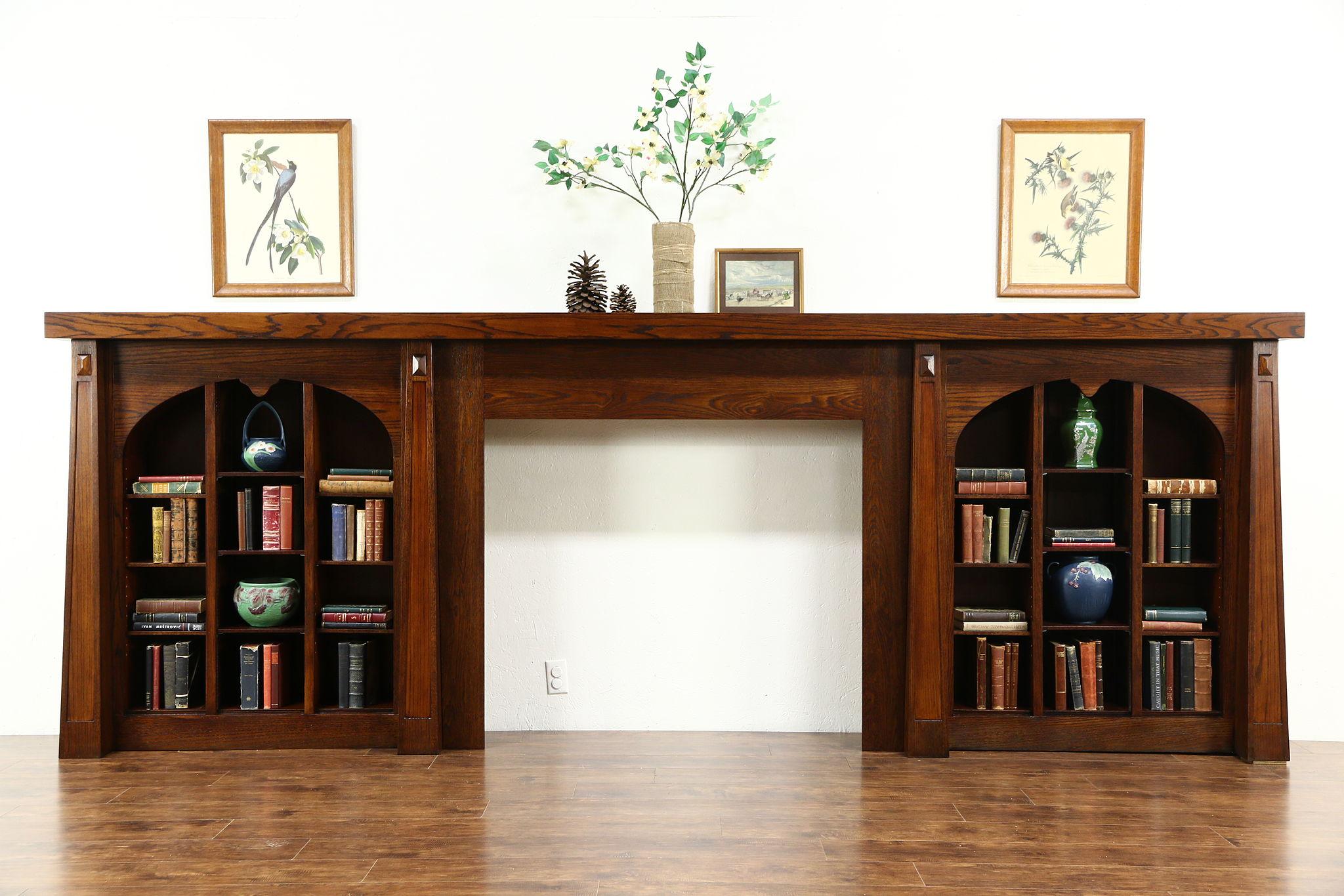 arts u0026 crafts antique fireplace mantel u0026 bookshelves salvage wall - Antique Fireplace Mantels