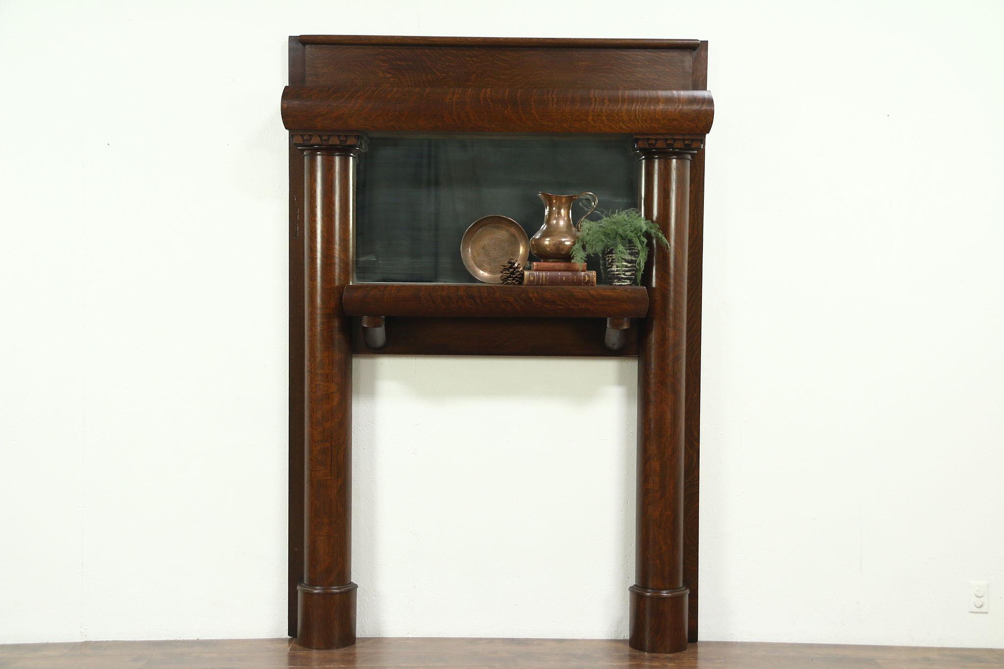 Oak Antique Architectural Salvage Fireplace Mantel Signed Titanic