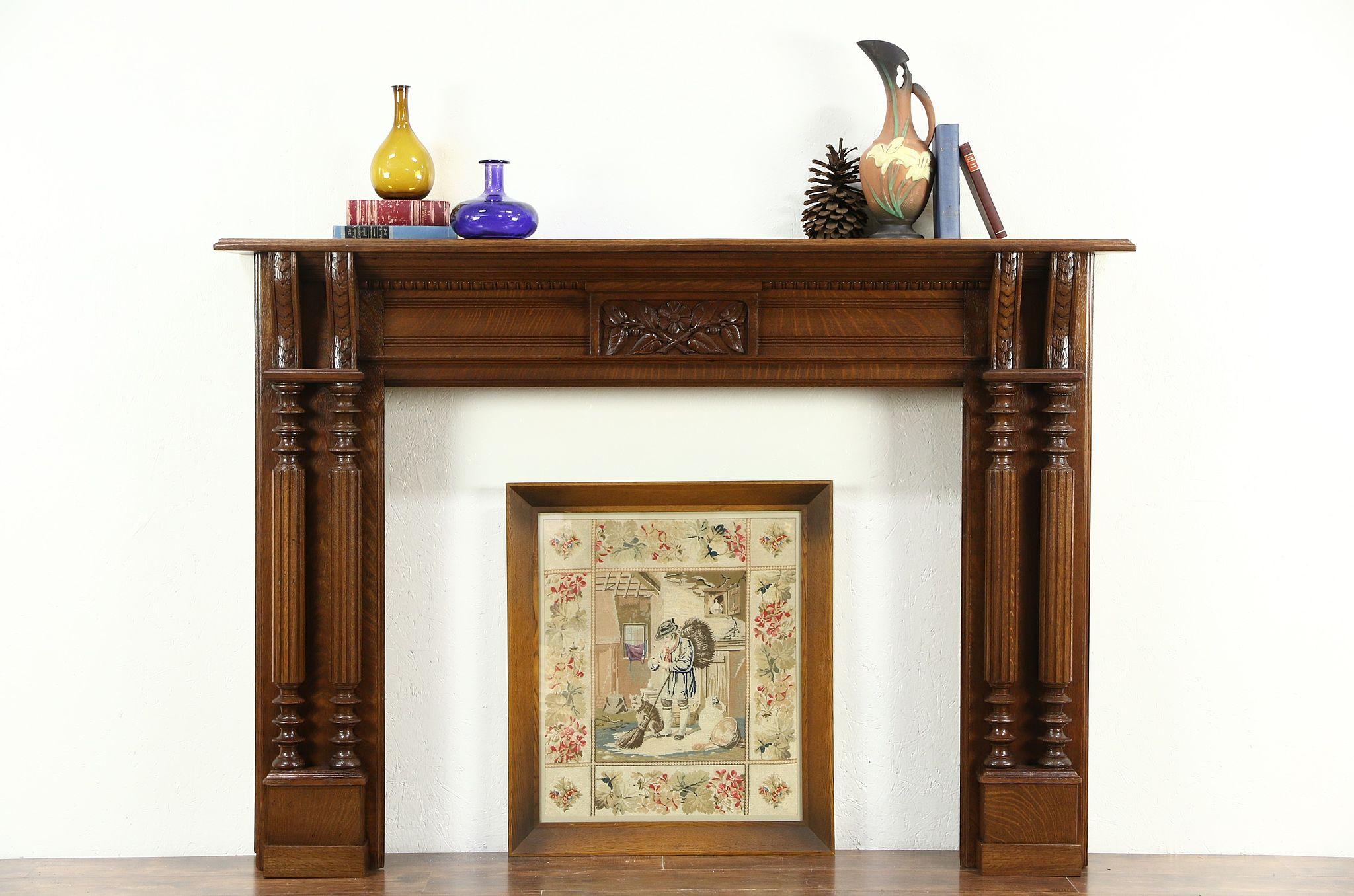 sold victorian carved oak antique fireplace mantel 1880